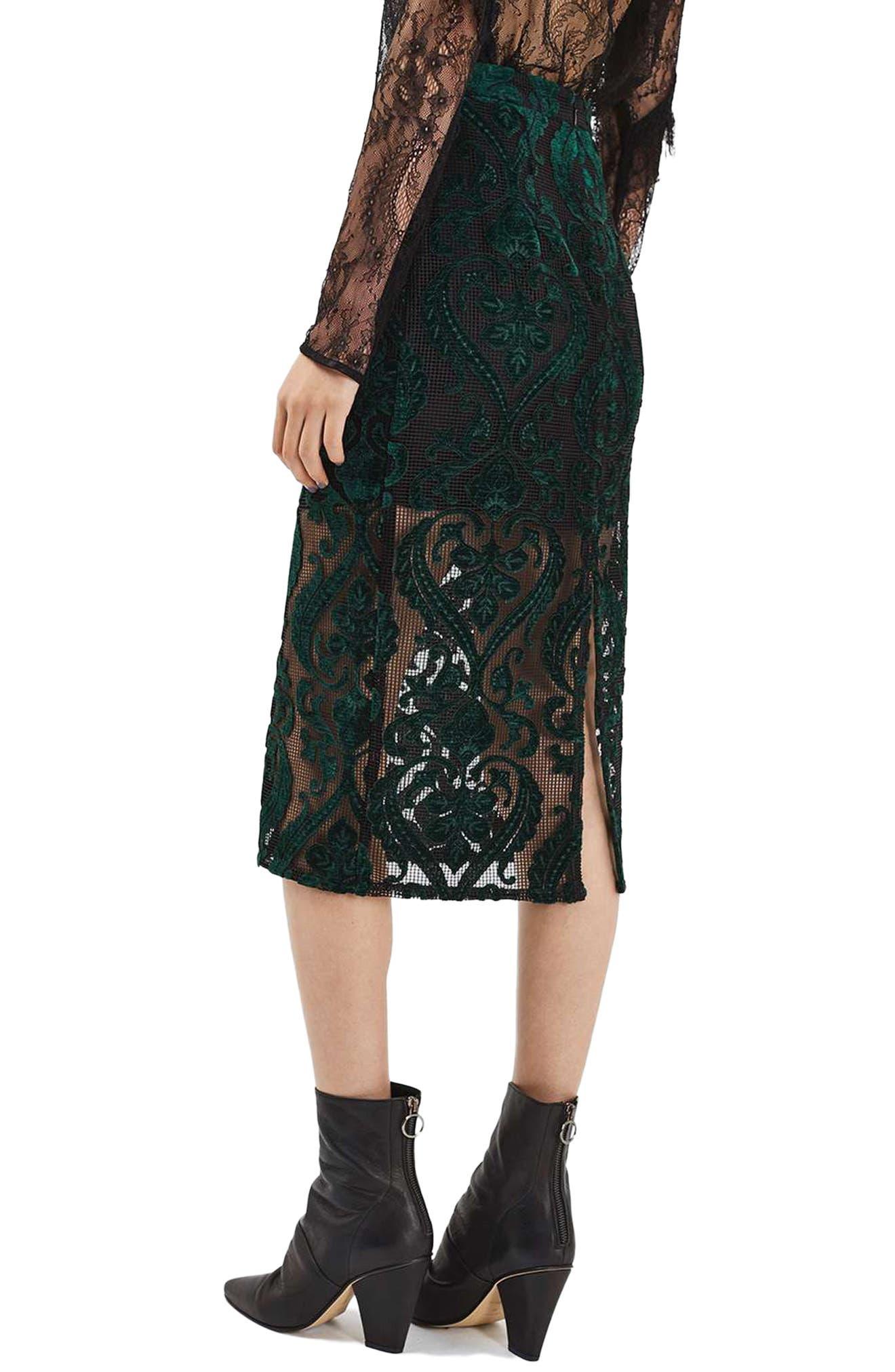 TOPSHOP, Velvet Mesh Pencil Skirt, Alternate thumbnail 2, color, 301