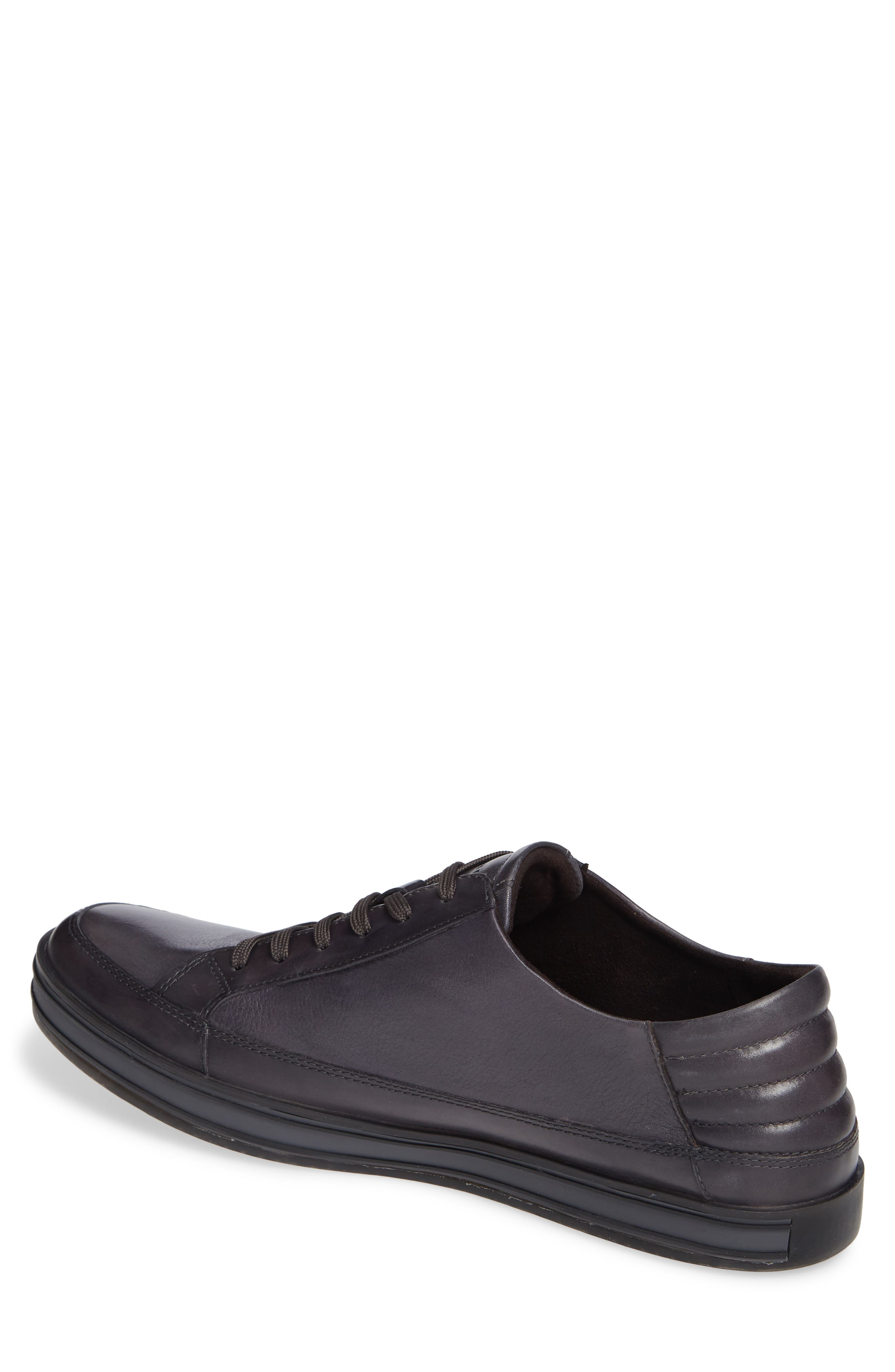 KENNETH COLE NEW YORK, Brand Stand Low Top Sneaker, Alternate thumbnail 2, color, GREY TUMBLED LEATHER/ LEATHER