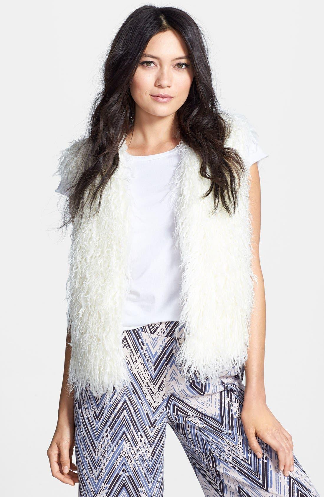 MURAL Shaggy Faux Fur Vest, Main, color, 110