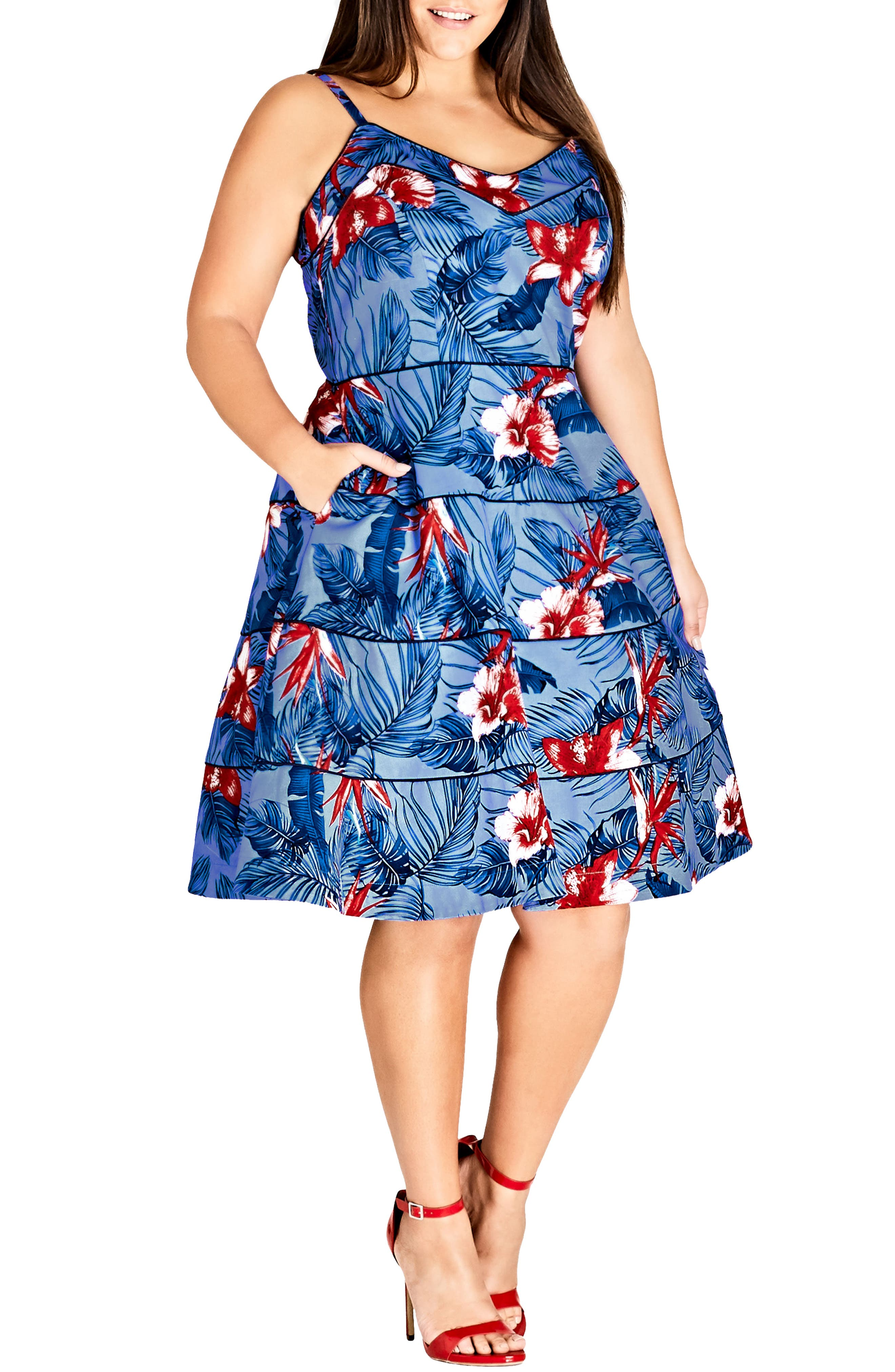 Plus Size City Chic Love Hawaii Fit & Flare Dress, Blue
