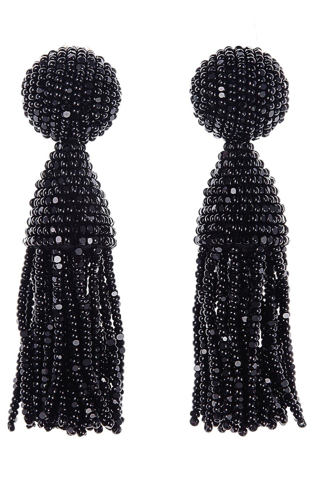 OSCAR DE LA RENTA, 'Classic Short' Tassel Drop Clip Earrings, Main thumbnail 1, color, BLACK