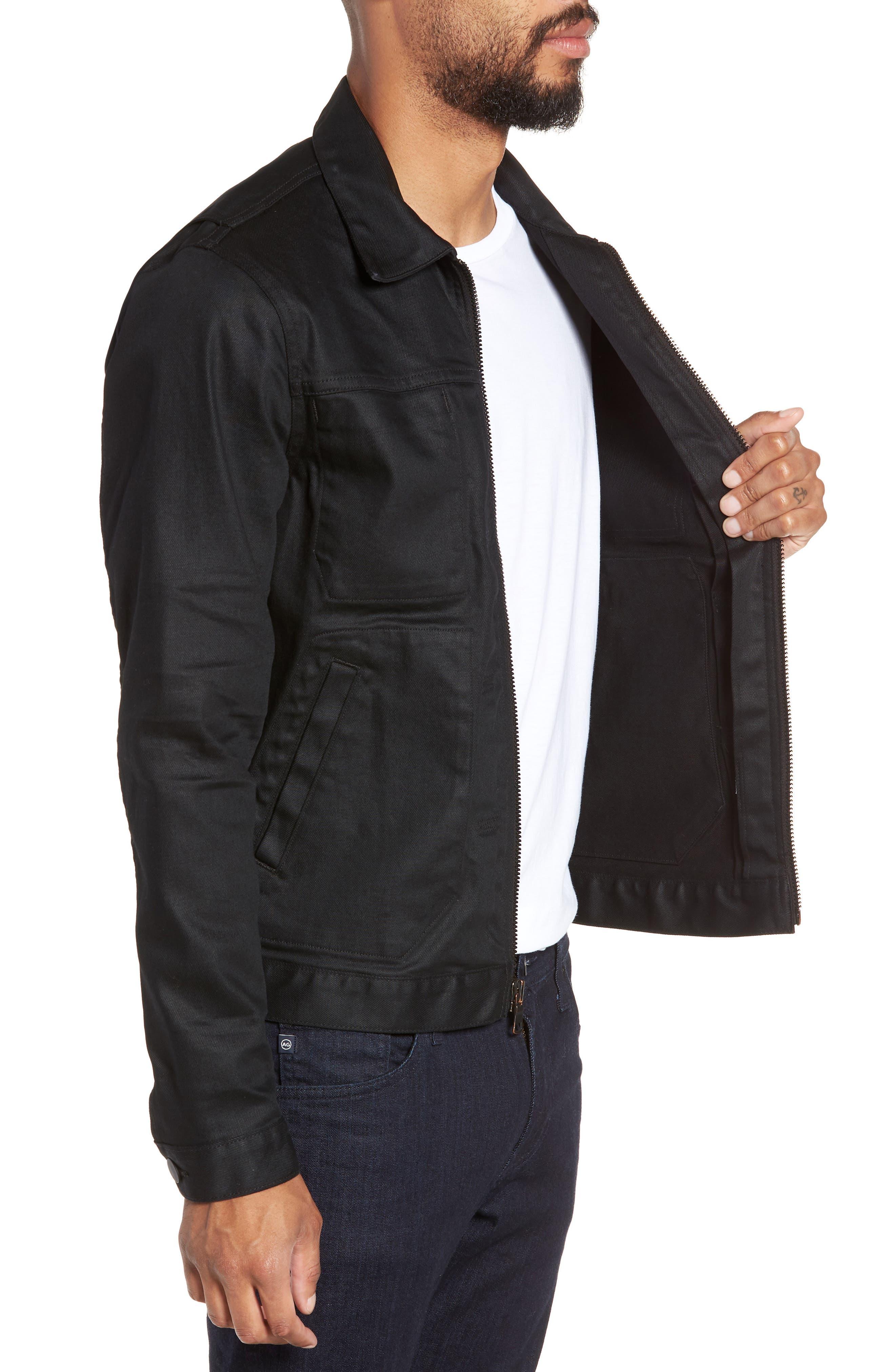 HUDSON JEANS, Zip Denim Jacket, Alternate thumbnail 3, color, ONYX