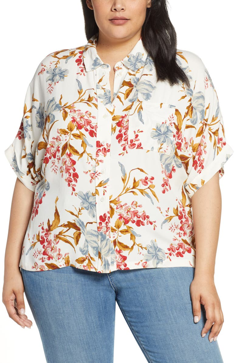 Vince Camuto T-shirts GRACEFUL WILDFLOWER BUTTON DOWN SHIRT
