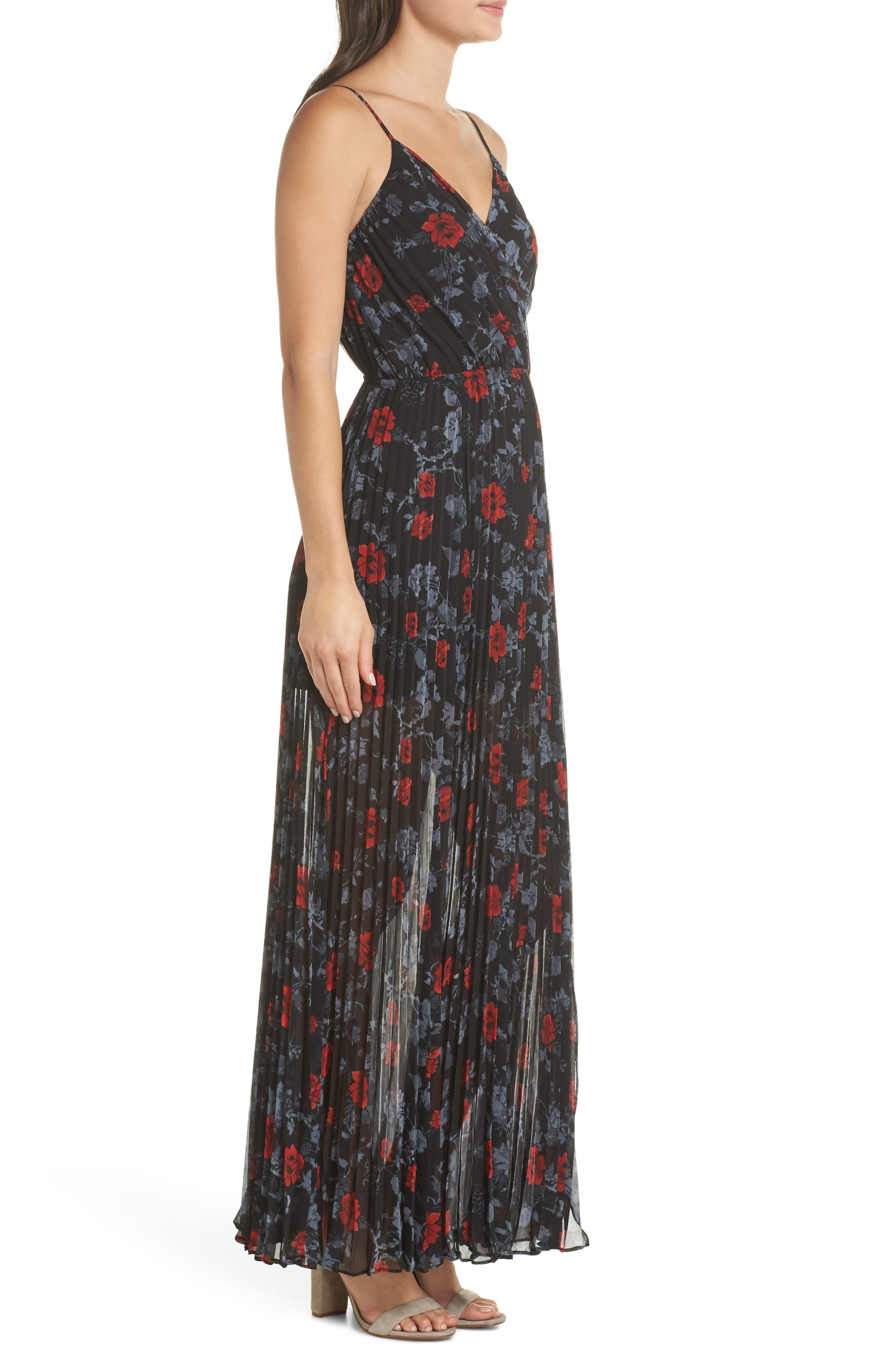 ALI & JAY, Roses Are Red Floral Pleated Maxi Dress, Alternate thumbnail 4, color, SCARLET ROSES