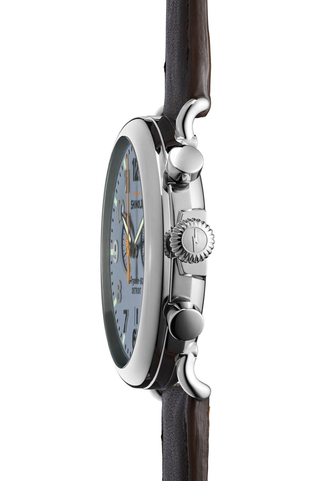 SHINOLA, The Runwell Chrono Leather Strap Watch, 47mm, Alternate thumbnail 3, color, SLATE BLUE/ TAN