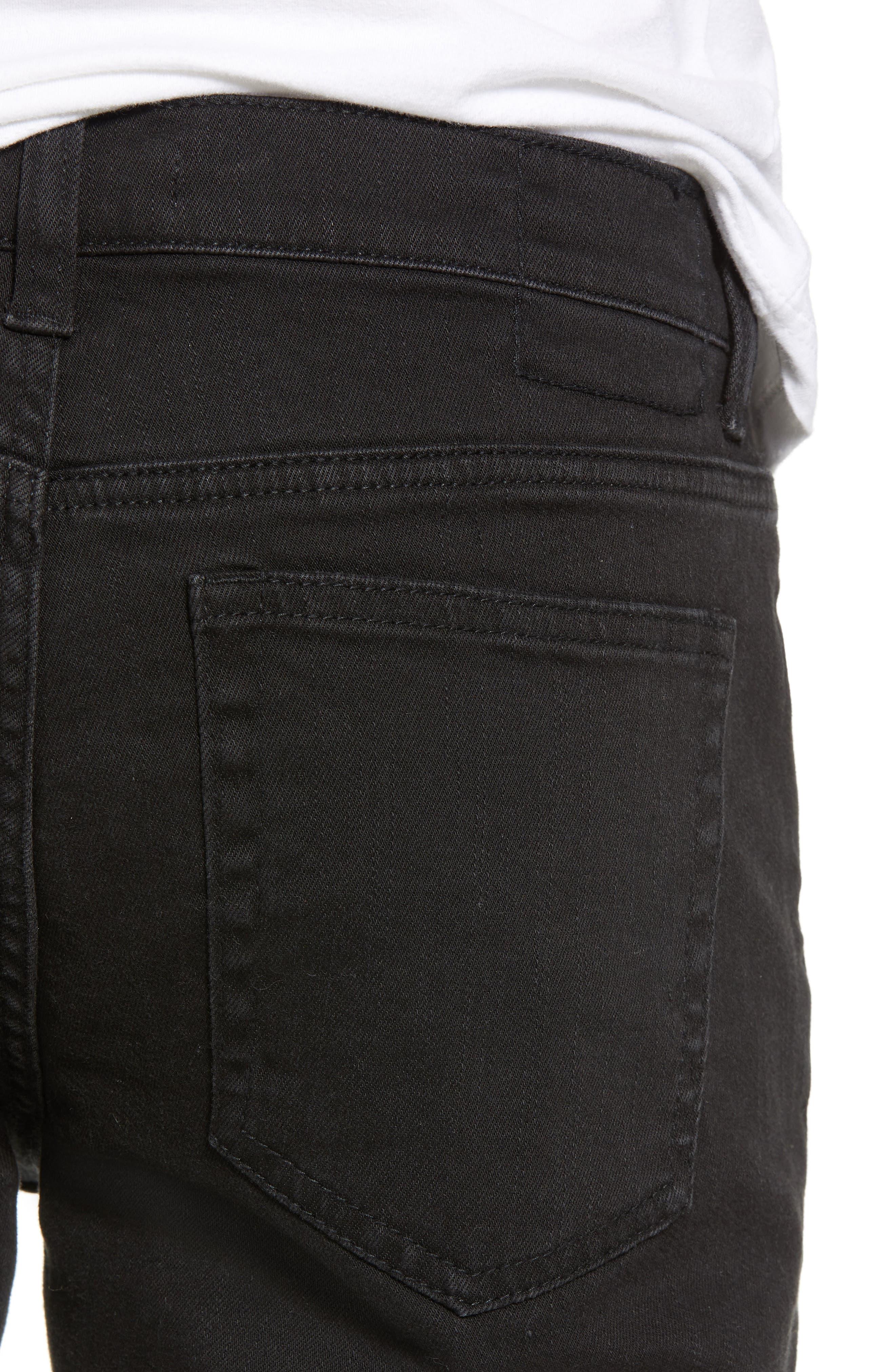 THE RAIL, Ripped Skinny Jeans, Alternate thumbnail 5, color, BLACK STONE WASH