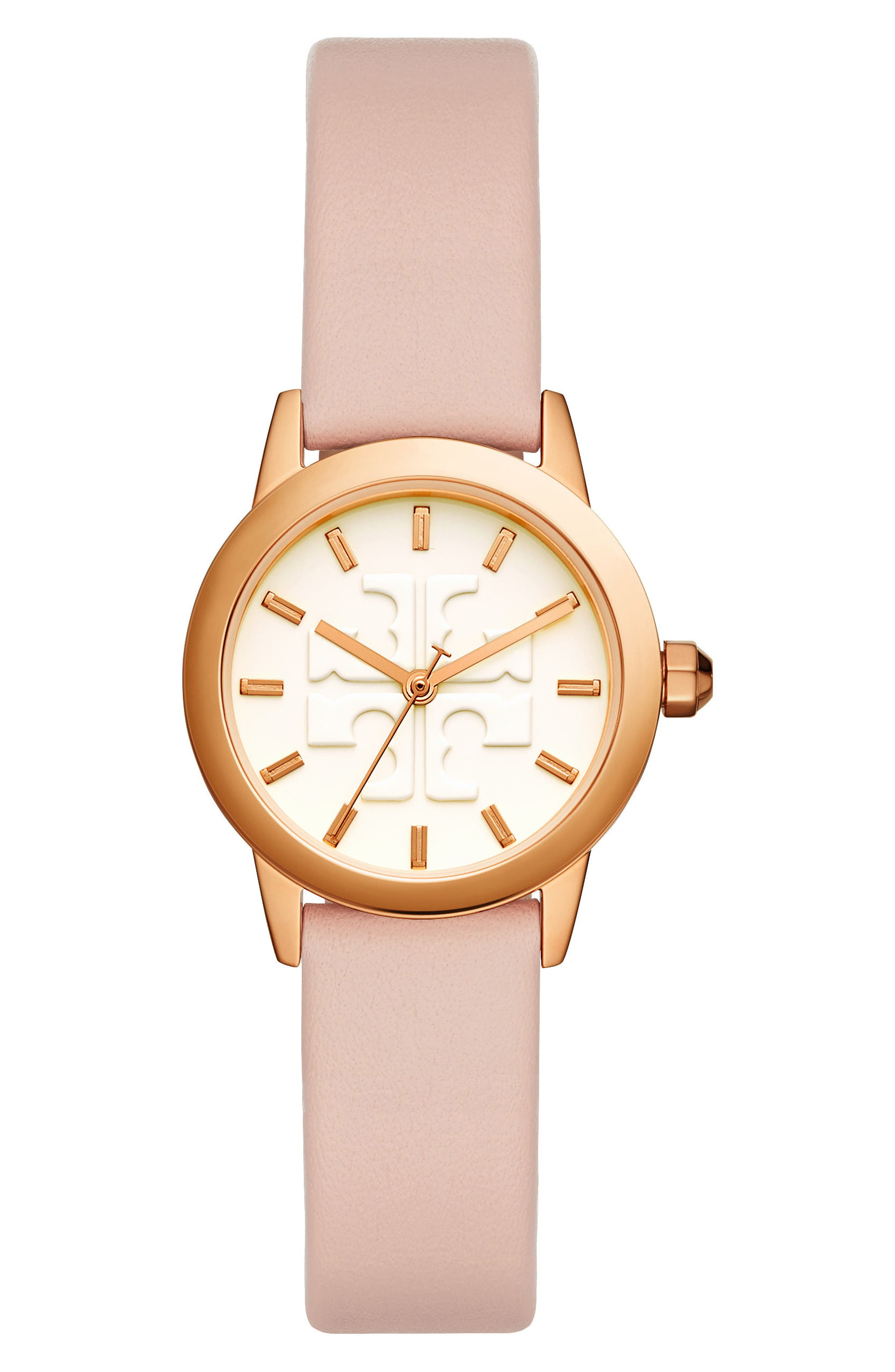 TORY BURCH, Gigi Leather Strap Watch, 28mm, Main thumbnail 1, color, PINK/ CREAM/ ROSE GOLD