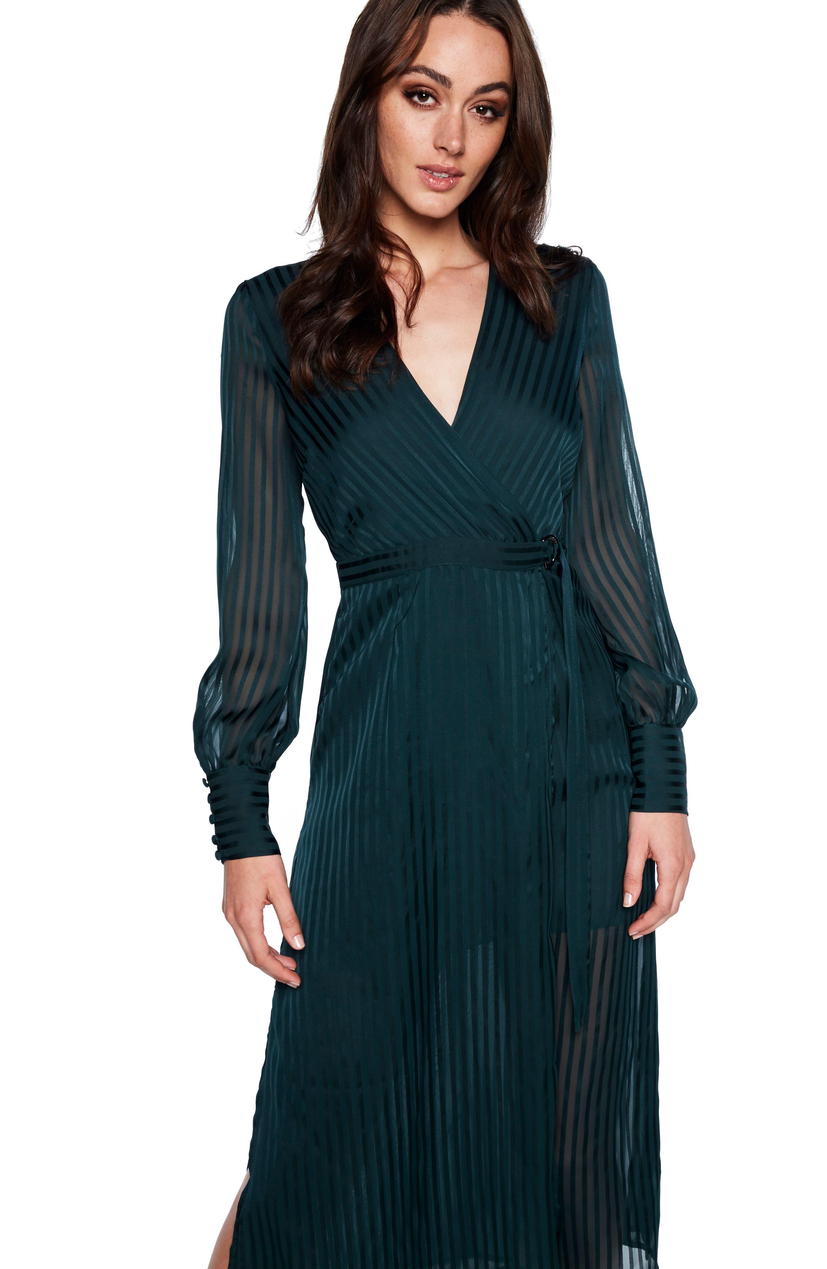 BARDOT, Shadow Stripe Faux Wrap Midi Dress, Alternate thumbnail 5, color, 309