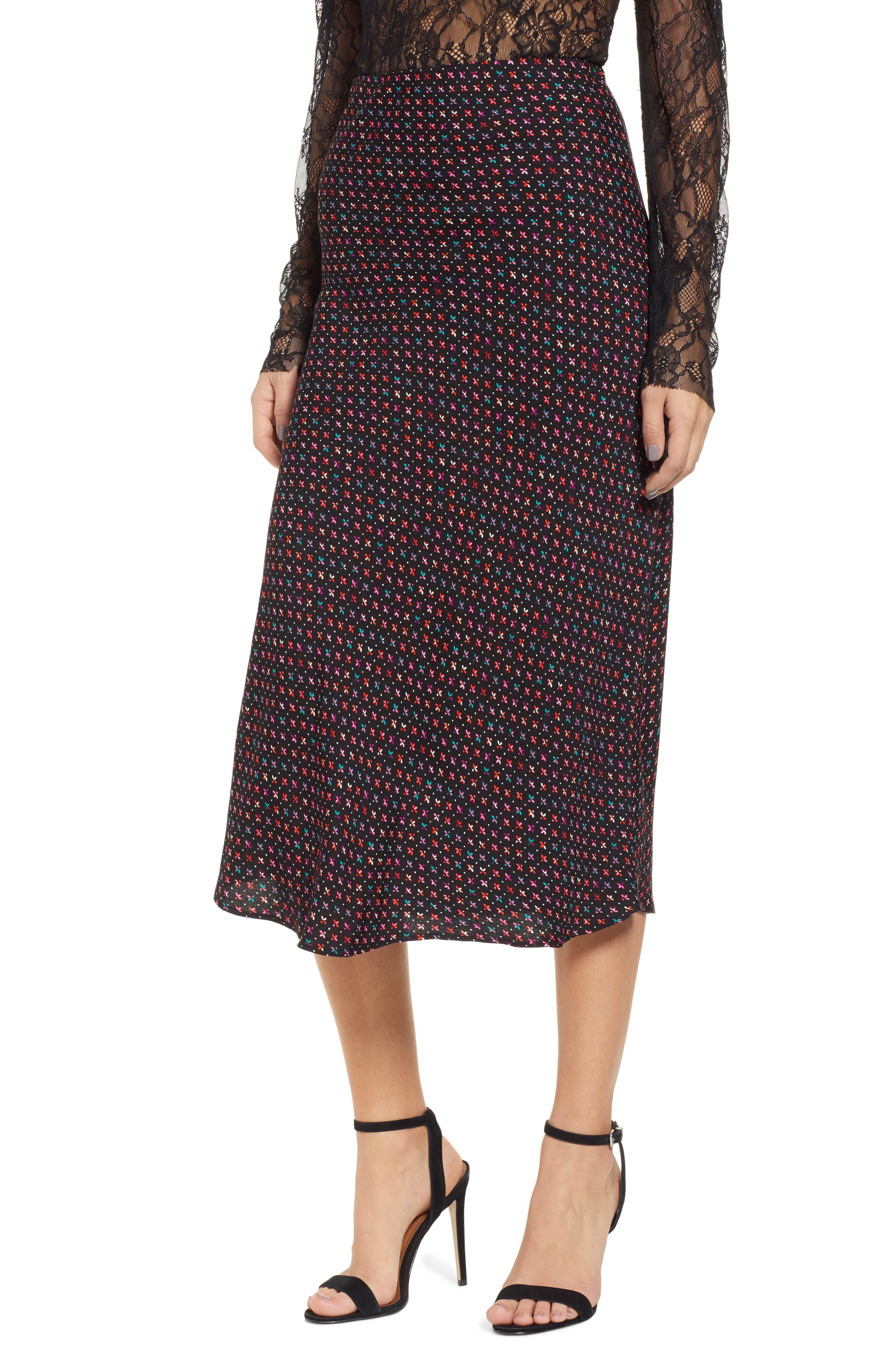 AFRM Brynne Print Midi Skirt, Main, color, 001