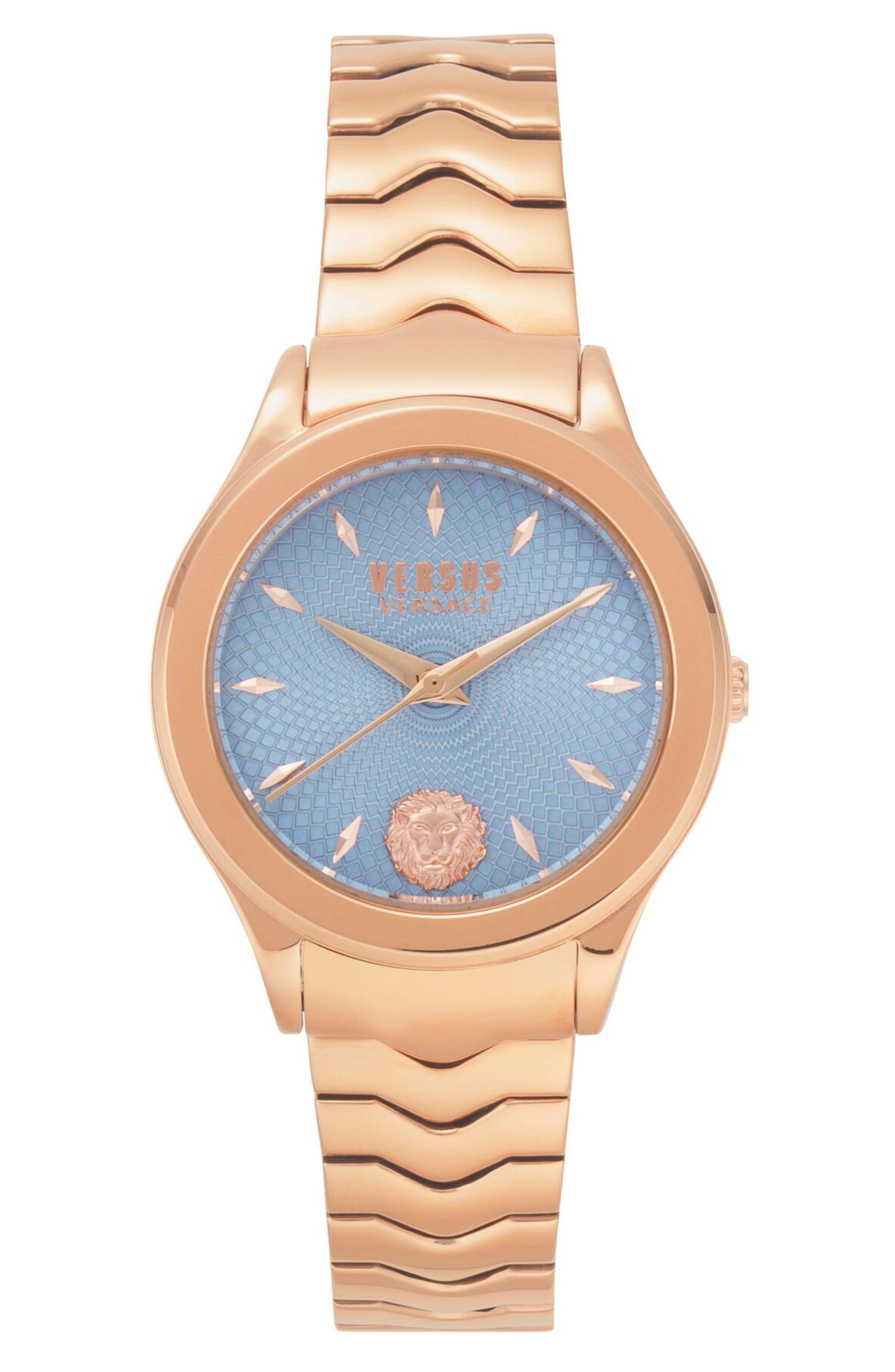 VERSUS VERSACE, Mount Pleasant Bracelet Watch, 34mm, Main thumbnail 1, color, ROSE GOLD/ BLUE/ ROSE GOLD