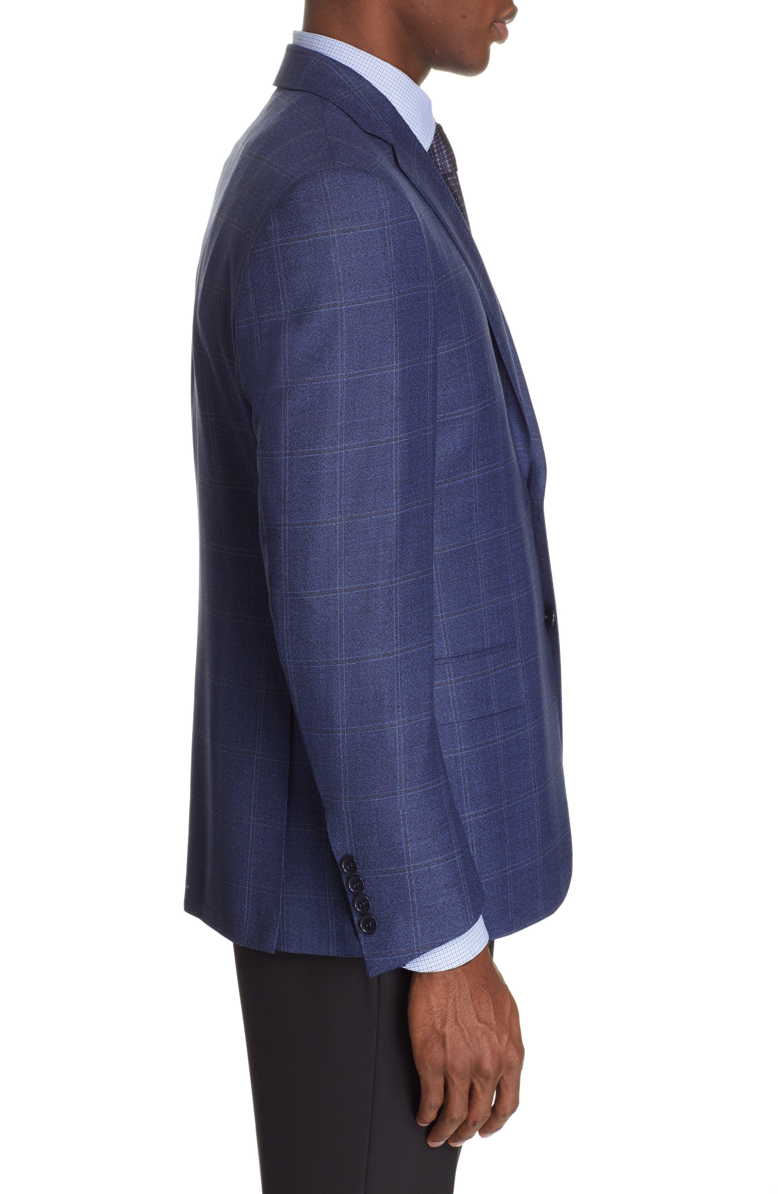 CANALI, Siena Classic Fit Plaid Wool Sport Coat, Alternate thumbnail 3, color, BLUE