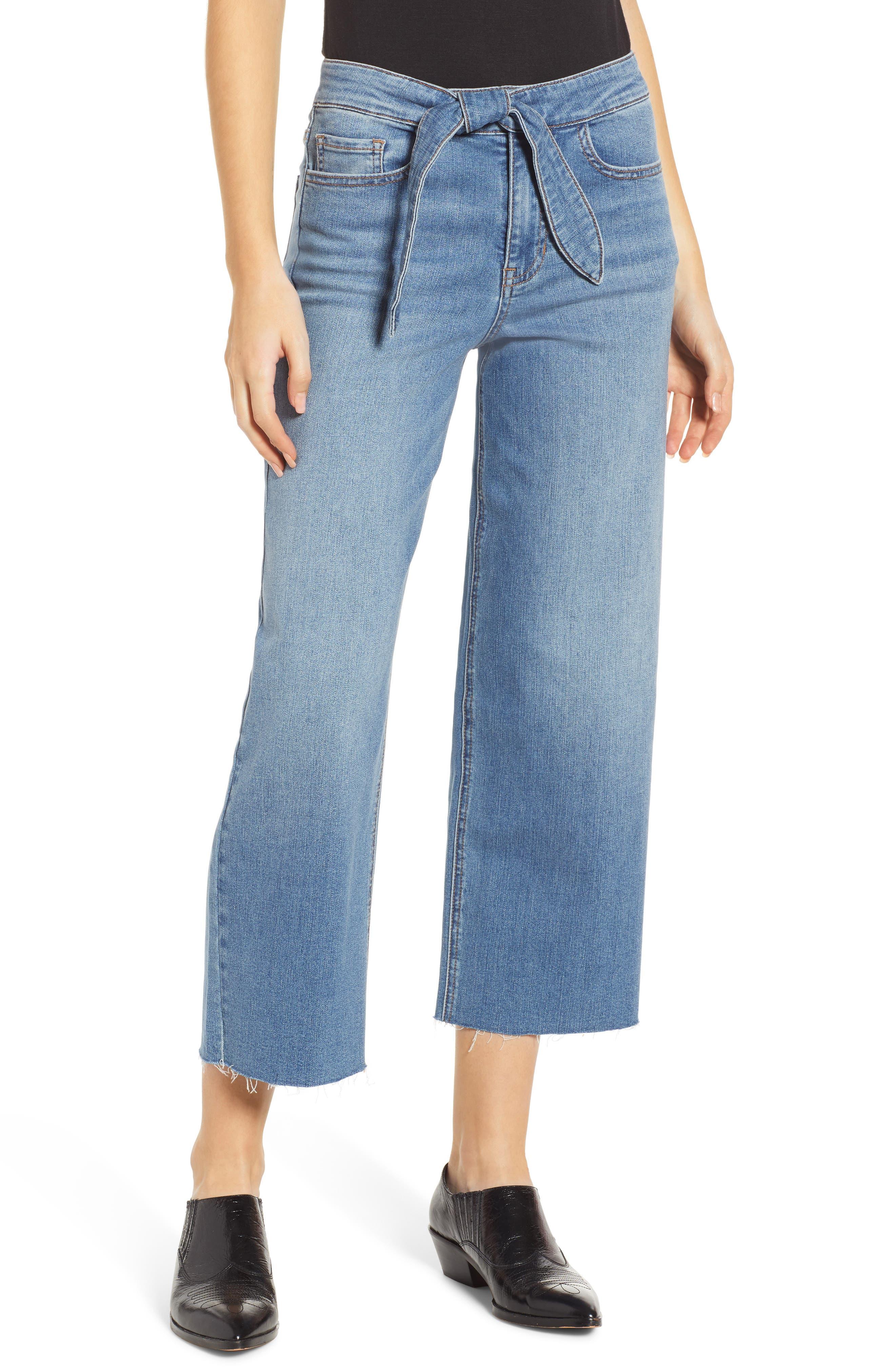 PROSPERITY DENIM Belted Crop Wide Leg Jeans, Main, color, PRETTY WASH