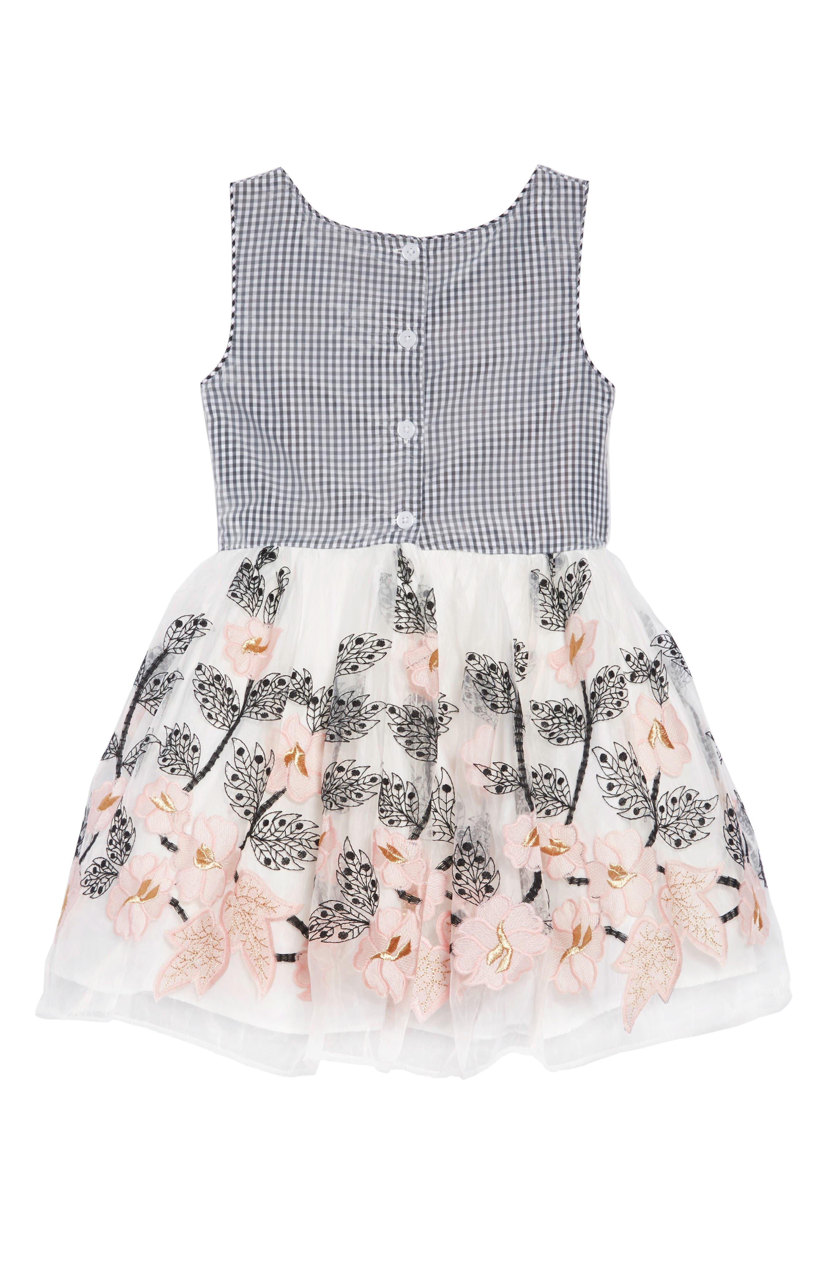 PIPPA & JULIE, Gingham & Floral Embellished Dress, Alternate thumbnail 2, color, BLACK/ WHITE