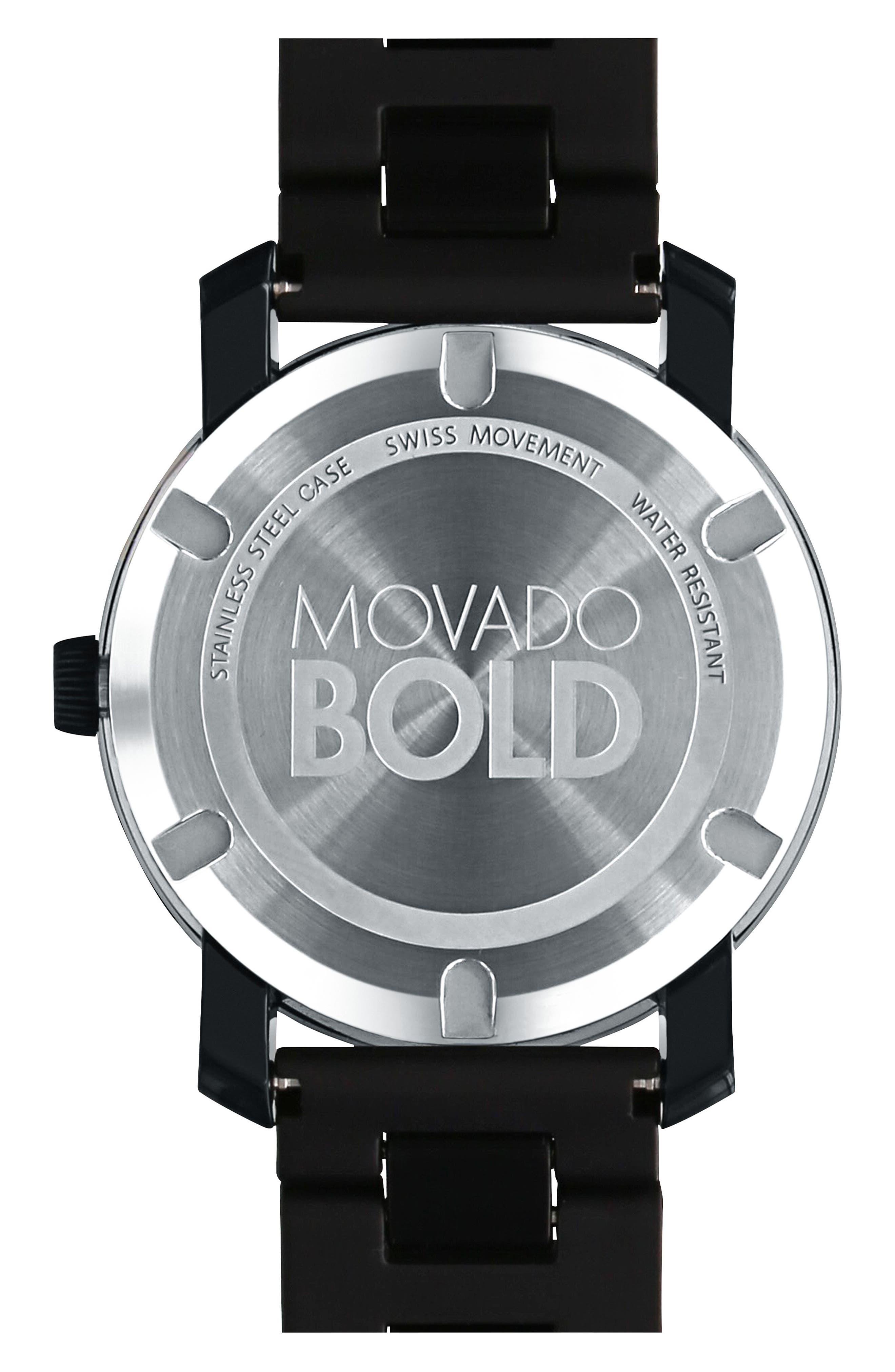 MOVADO, 'Large Bold' Bracelet Watch, 42mm, Alternate thumbnail 2, color, BLACK