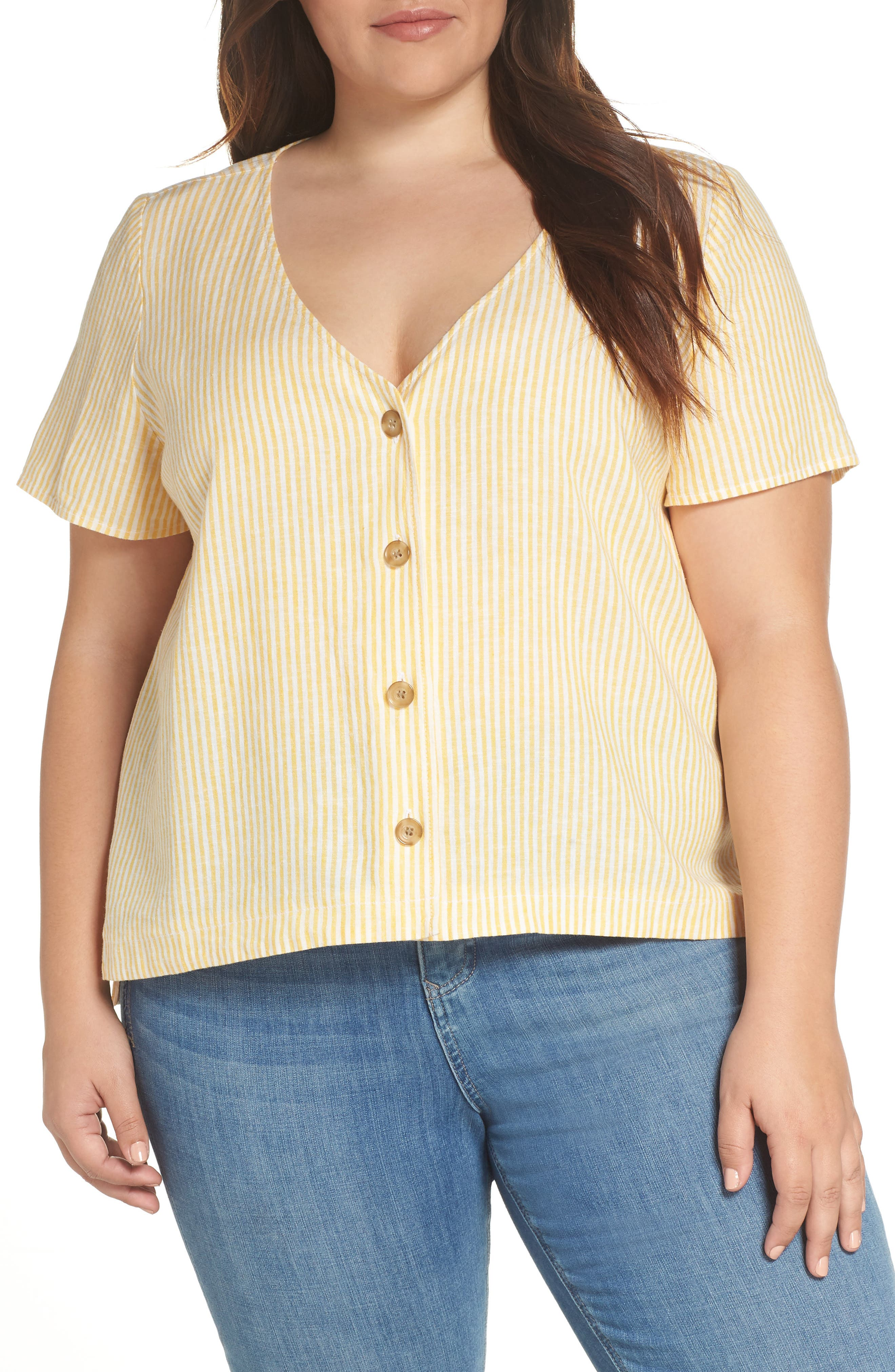 BP., Button Front Linen Blend Top, Alternate thumbnail 2, color, YELLOW WHIP MARA STRIPE