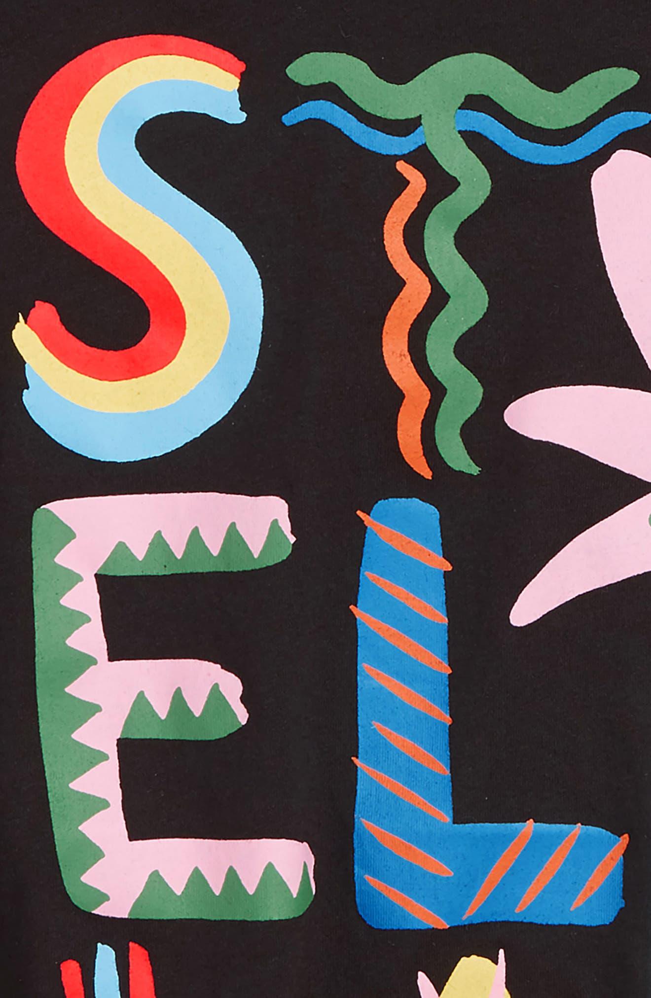 STELLA MCCARTNEY KIDS, Logo Print Tee, Alternate thumbnail 2, color, 1073 BLACK