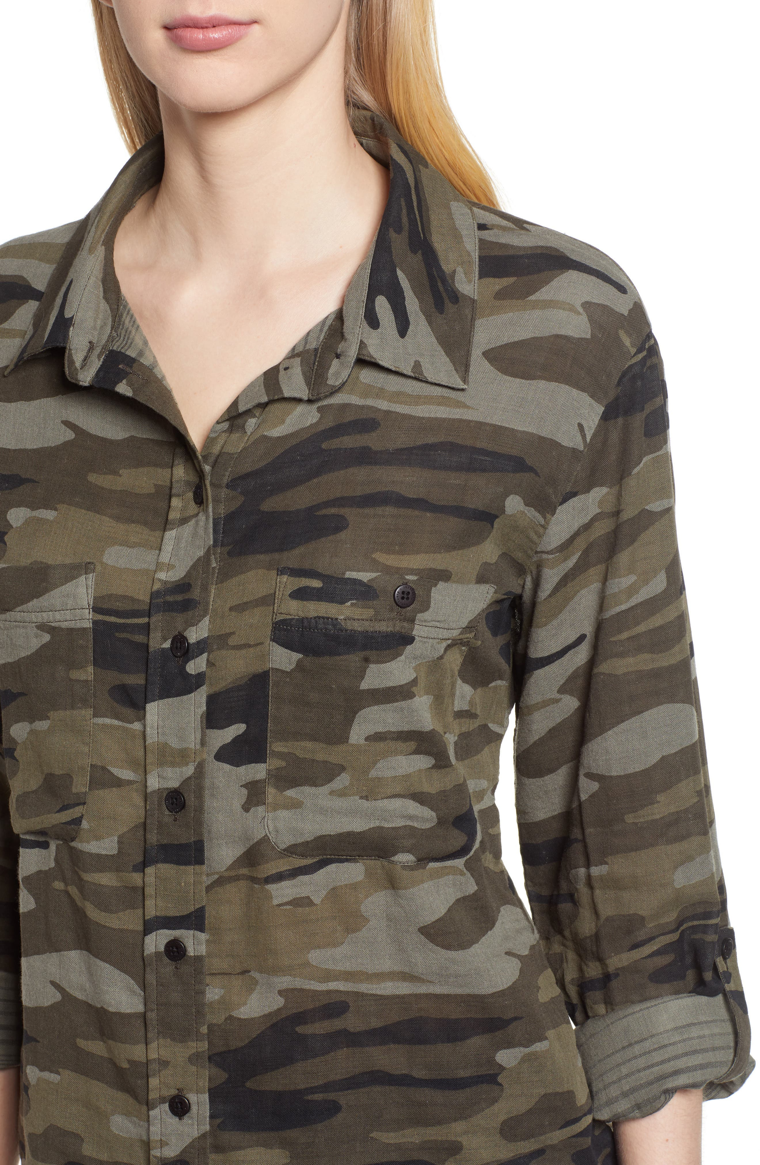 SANCTUARY, Steady Boyfriend Camo Shirt, Alternate thumbnail 5, color, GARDEN CAMO