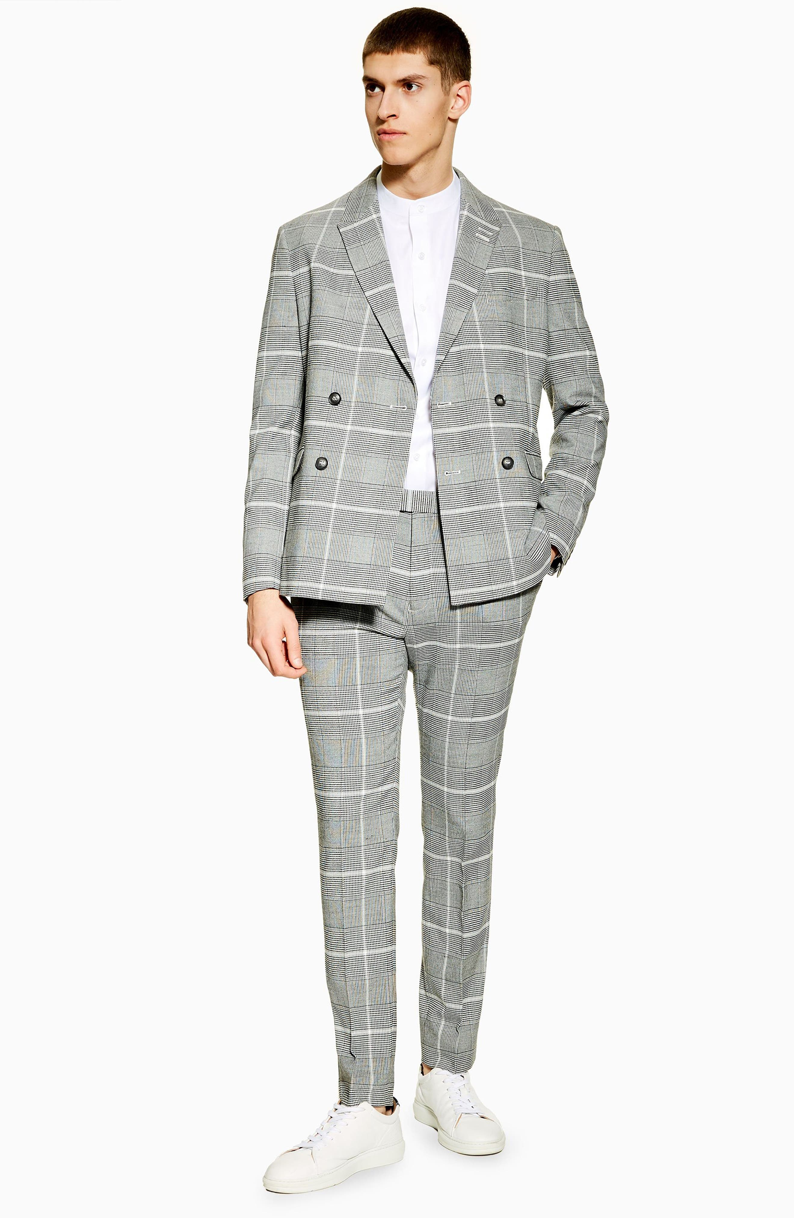 TOPMAN, Skinny Fit Check Trousers, Alternate thumbnail 5, color, 020