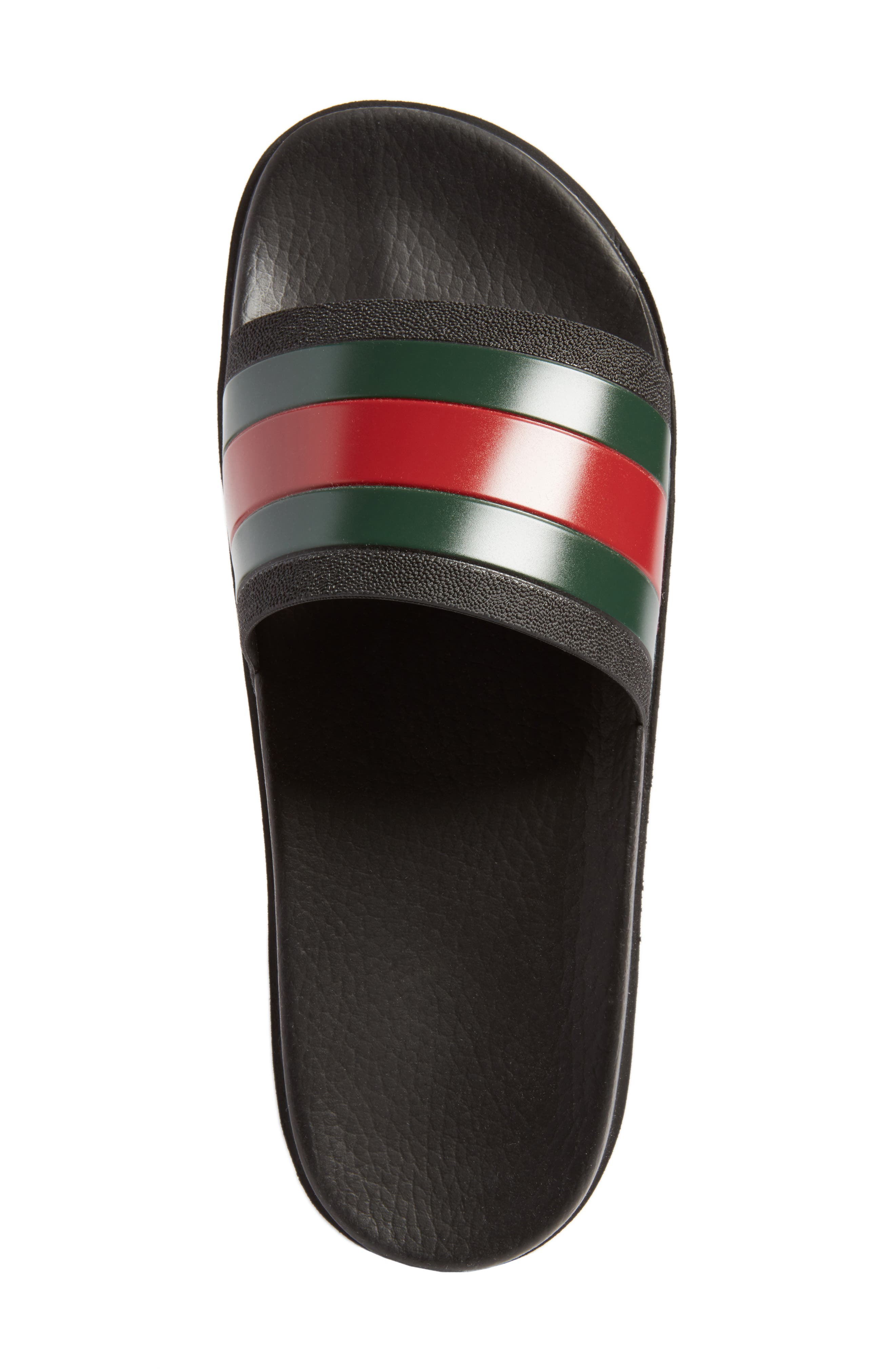 GUCCI, 'Pursuit Treck' Slide Sandal, Alternate thumbnail 5, color, NERO/NERO