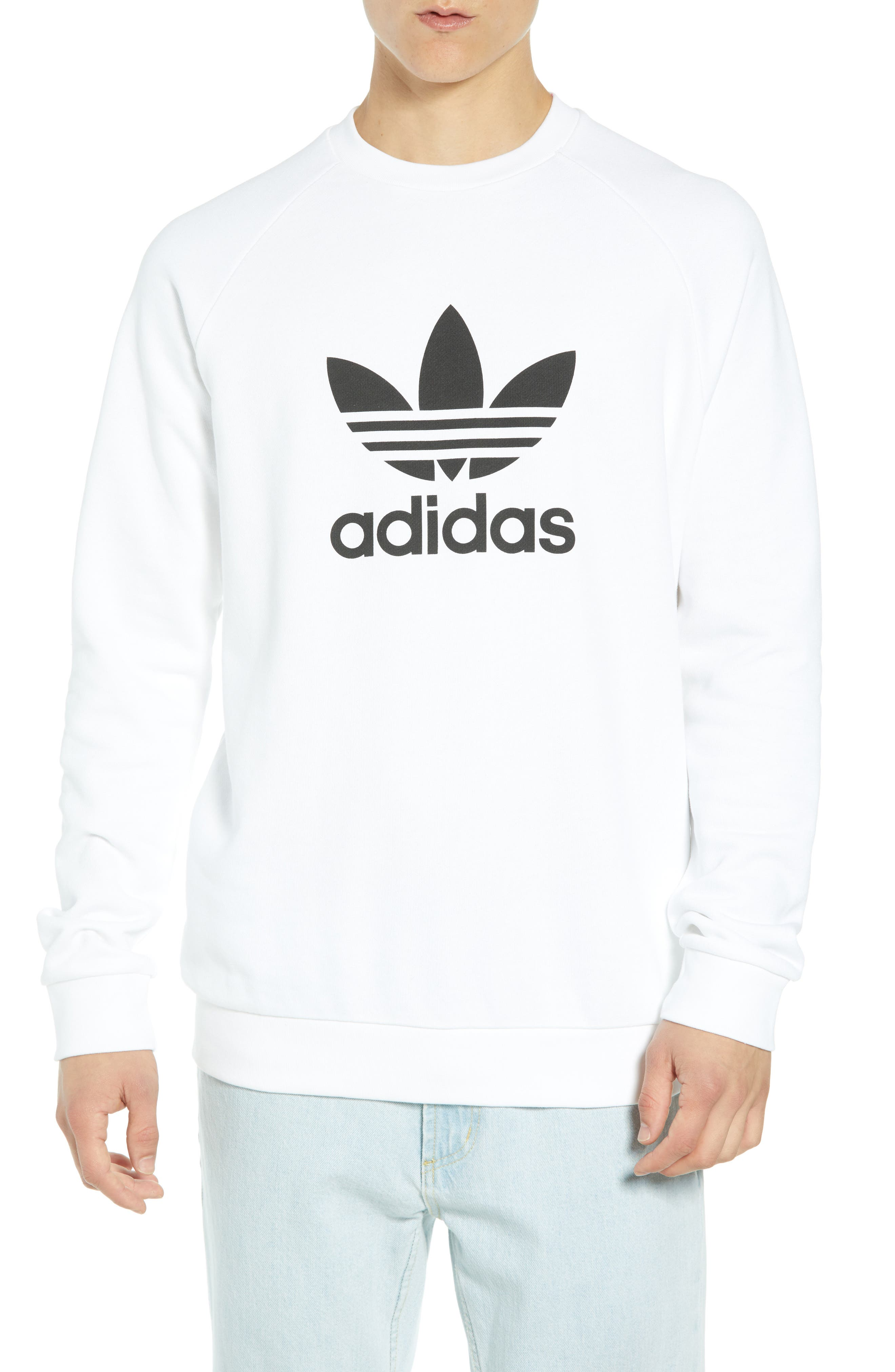 ADIDAS ORIGINALS, Trefoil Sweatshirt, Main thumbnail 1, color, WHITE