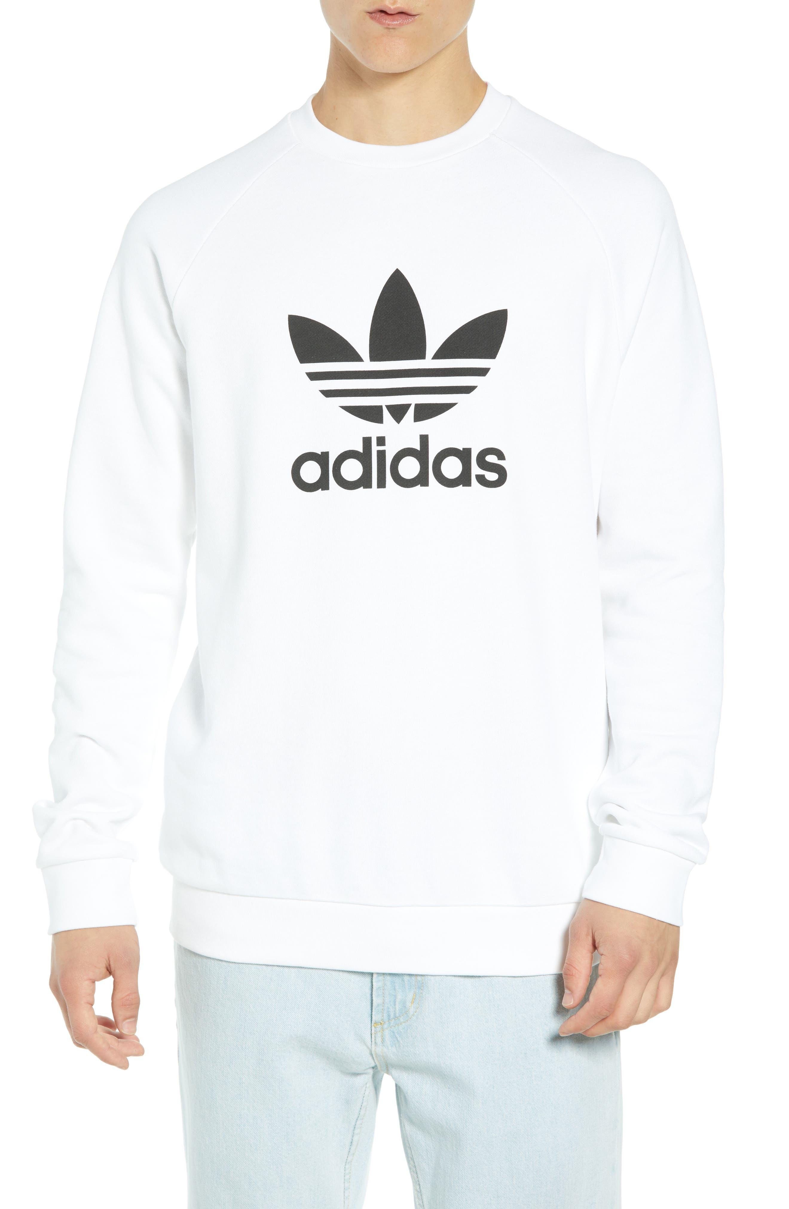 ADIDAS ORIGINALS Trefoil Sweatshirt, Main, color, WHITE