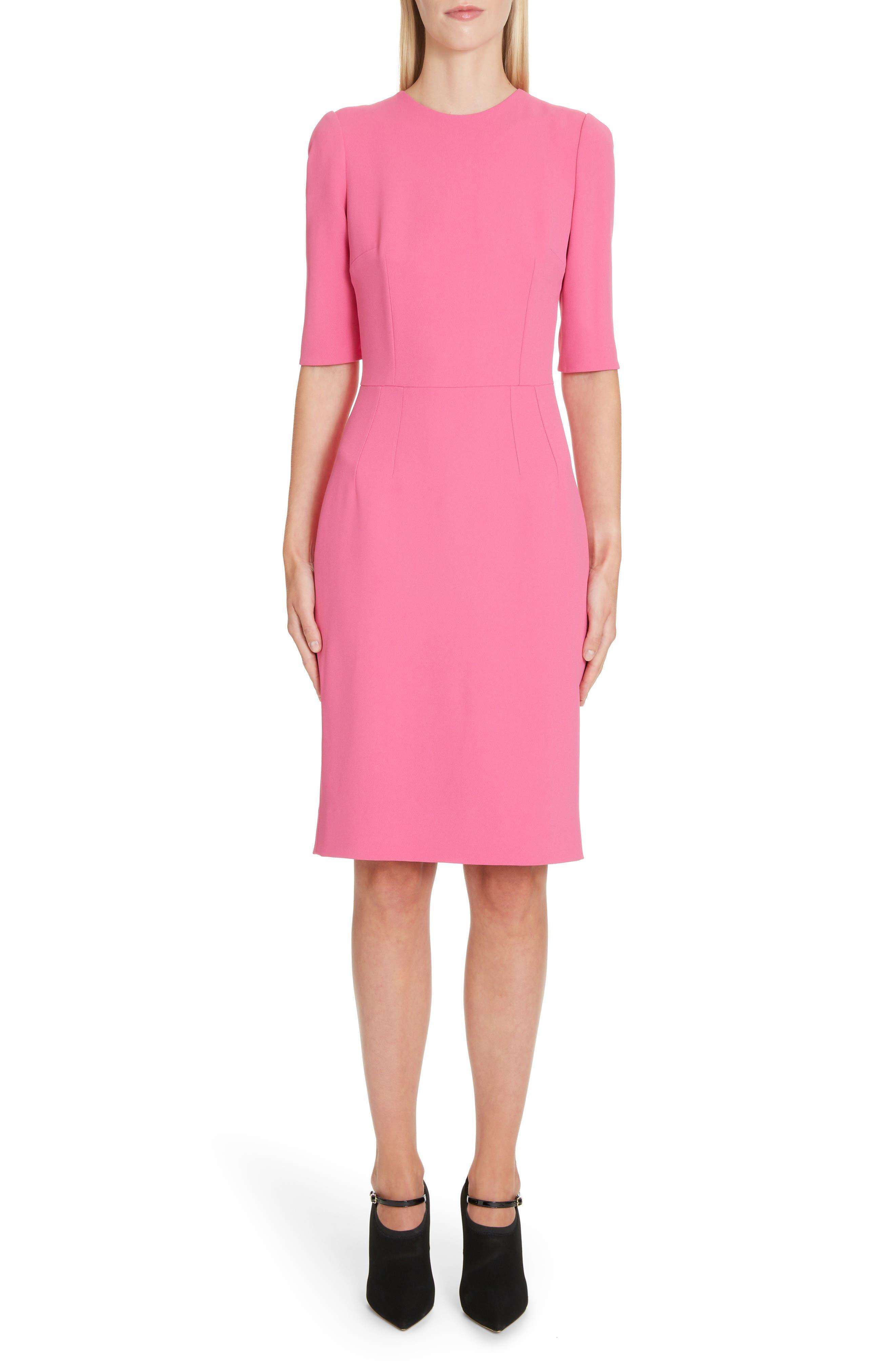 Dolce & gabbana Cady Sheath Dress, US / 42 IT - Pink