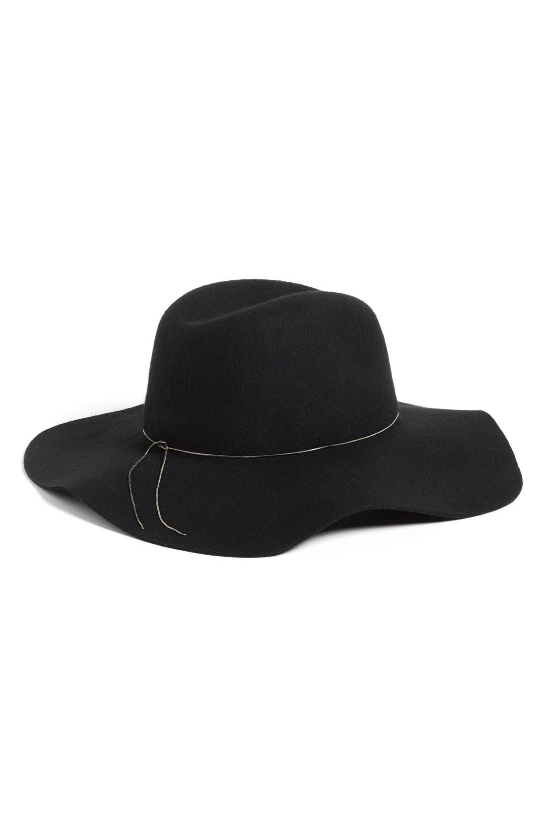 HINGE, Floppy Wool Felt Hat, Alternate thumbnail 3, color, 001