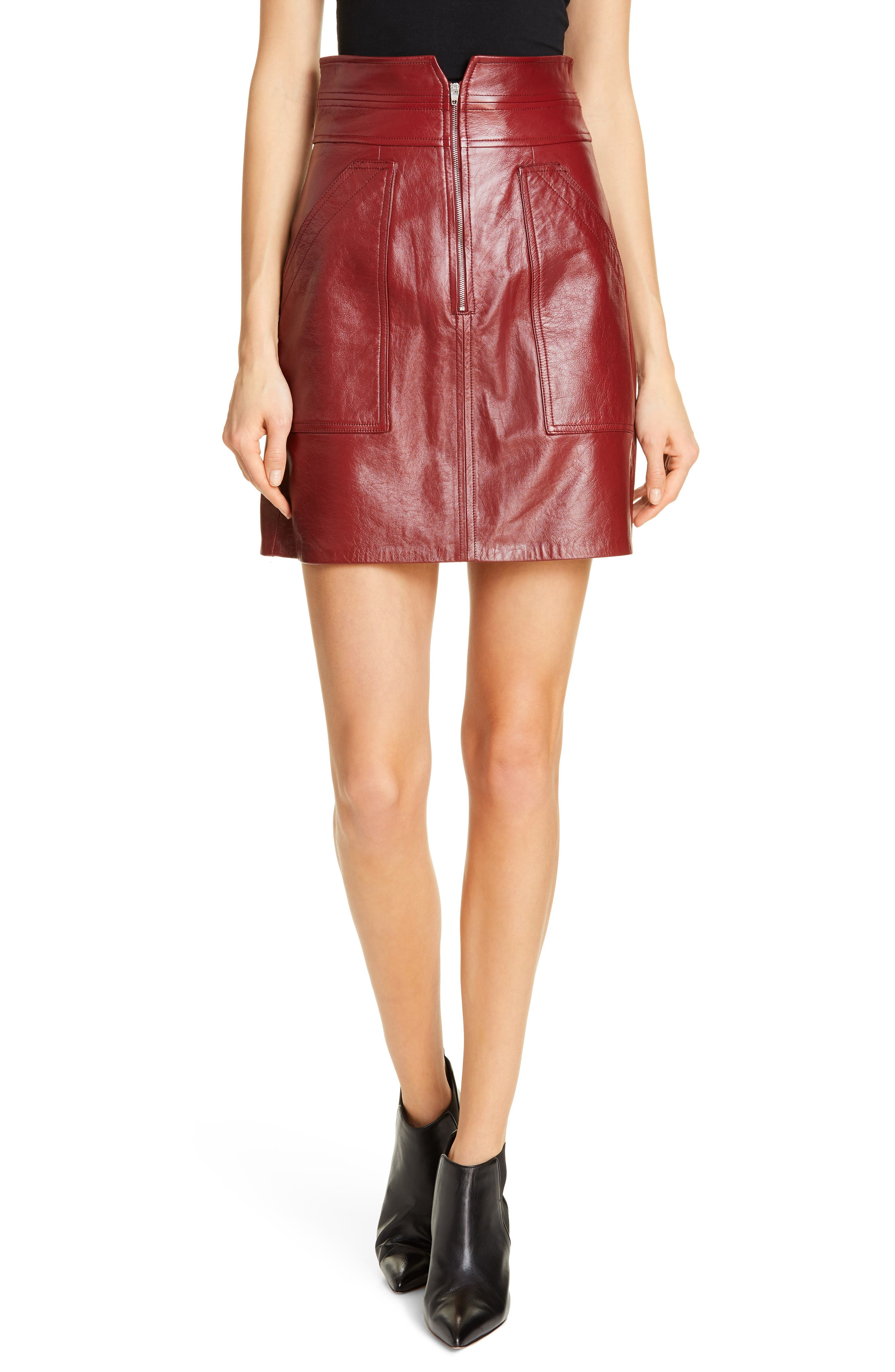 REBECCA TAYLOR, Leather Skirt, Main thumbnail 1, color, SPICE