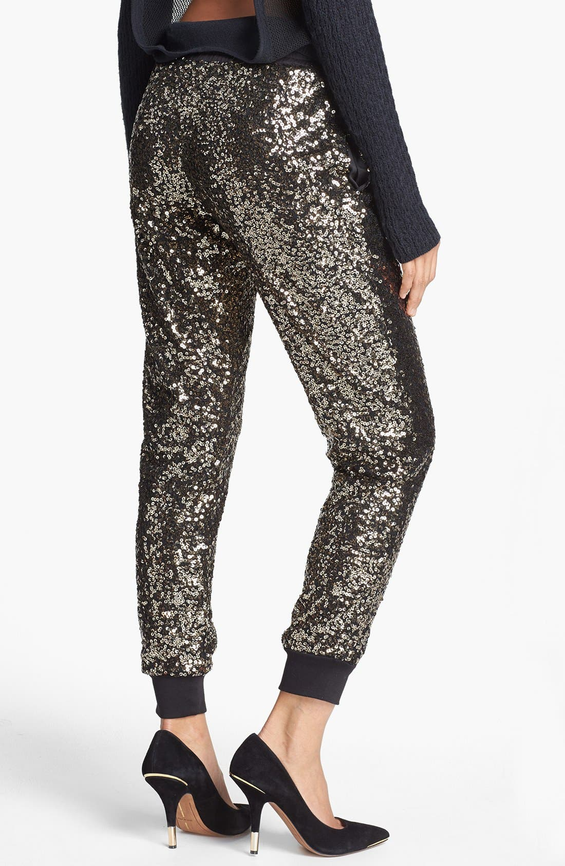 WAYF, Crop Sequin Track Pants, Alternate thumbnail 2, color, 710