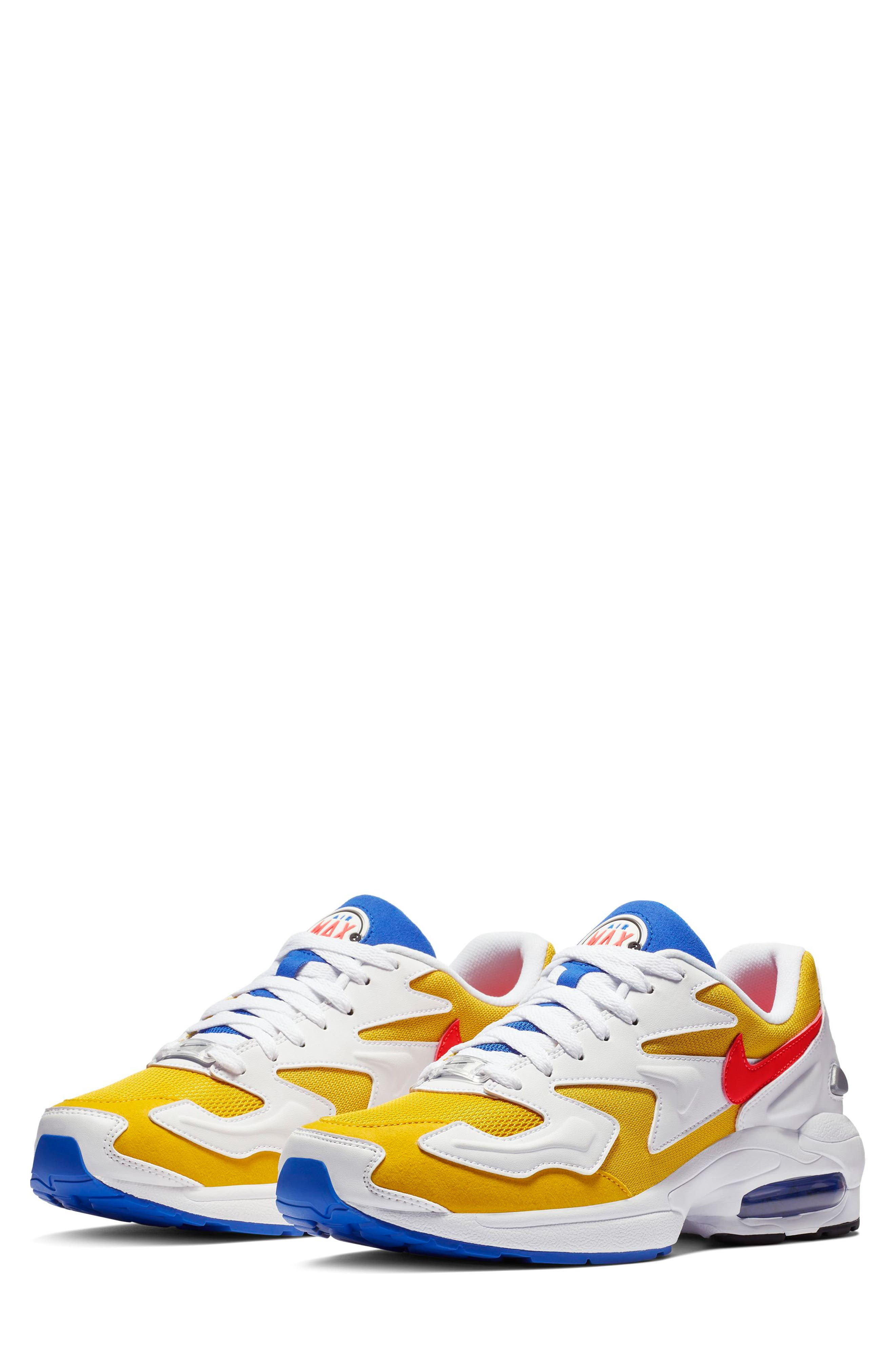 NIKE, Air Max2 Light Sneaker, Main thumbnail 1, color, GOLD CRIMSON/ BLUE