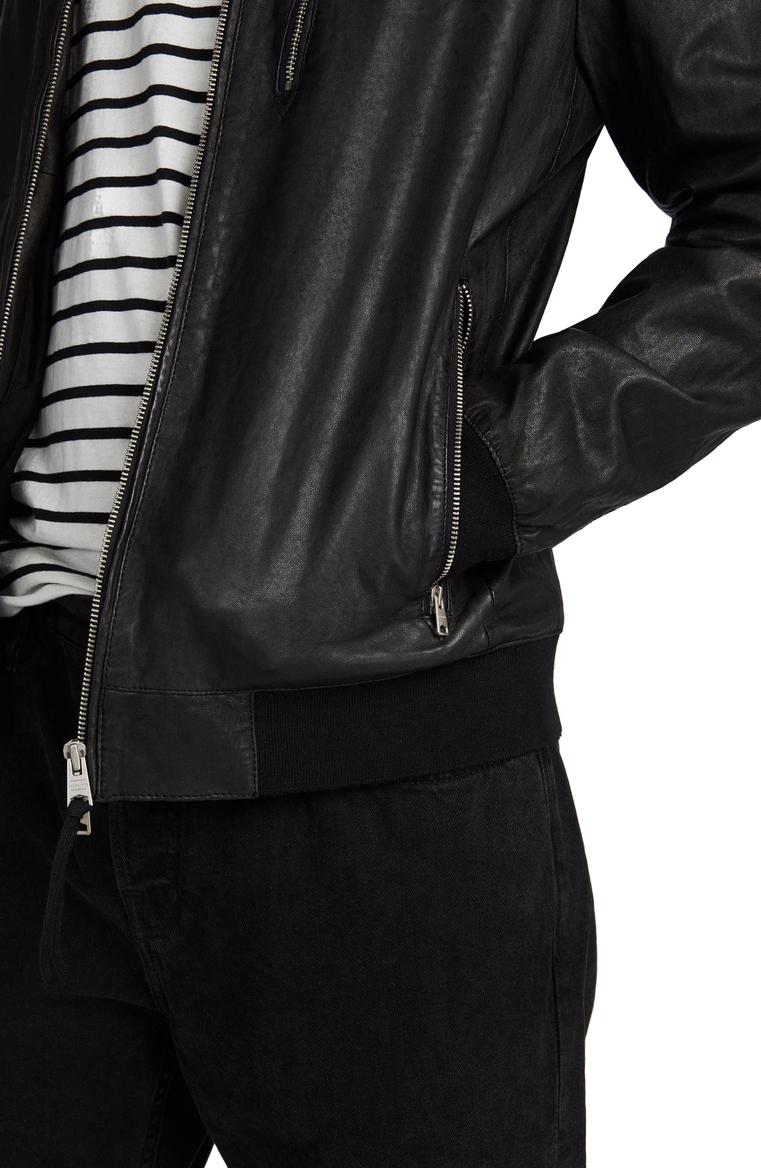 ALLSAINTS, Kino Leather Bomber Jacket, Alternate thumbnail 3, color, BLACK
