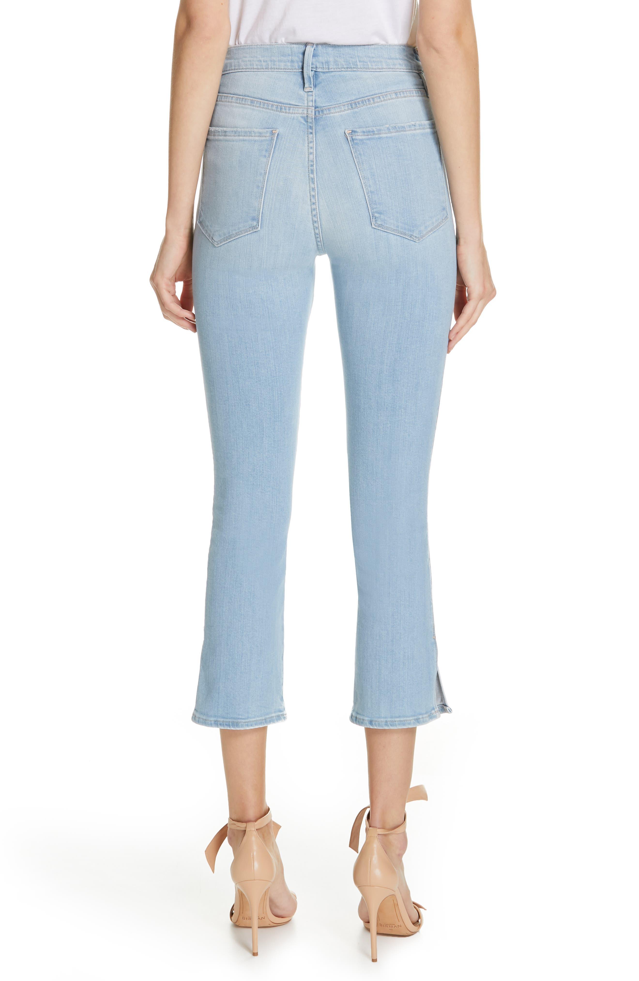 FRAME, Le Sylvie Slit Hem Crop Slim Jeans, Alternate thumbnail 2, color, SUPERSTAR