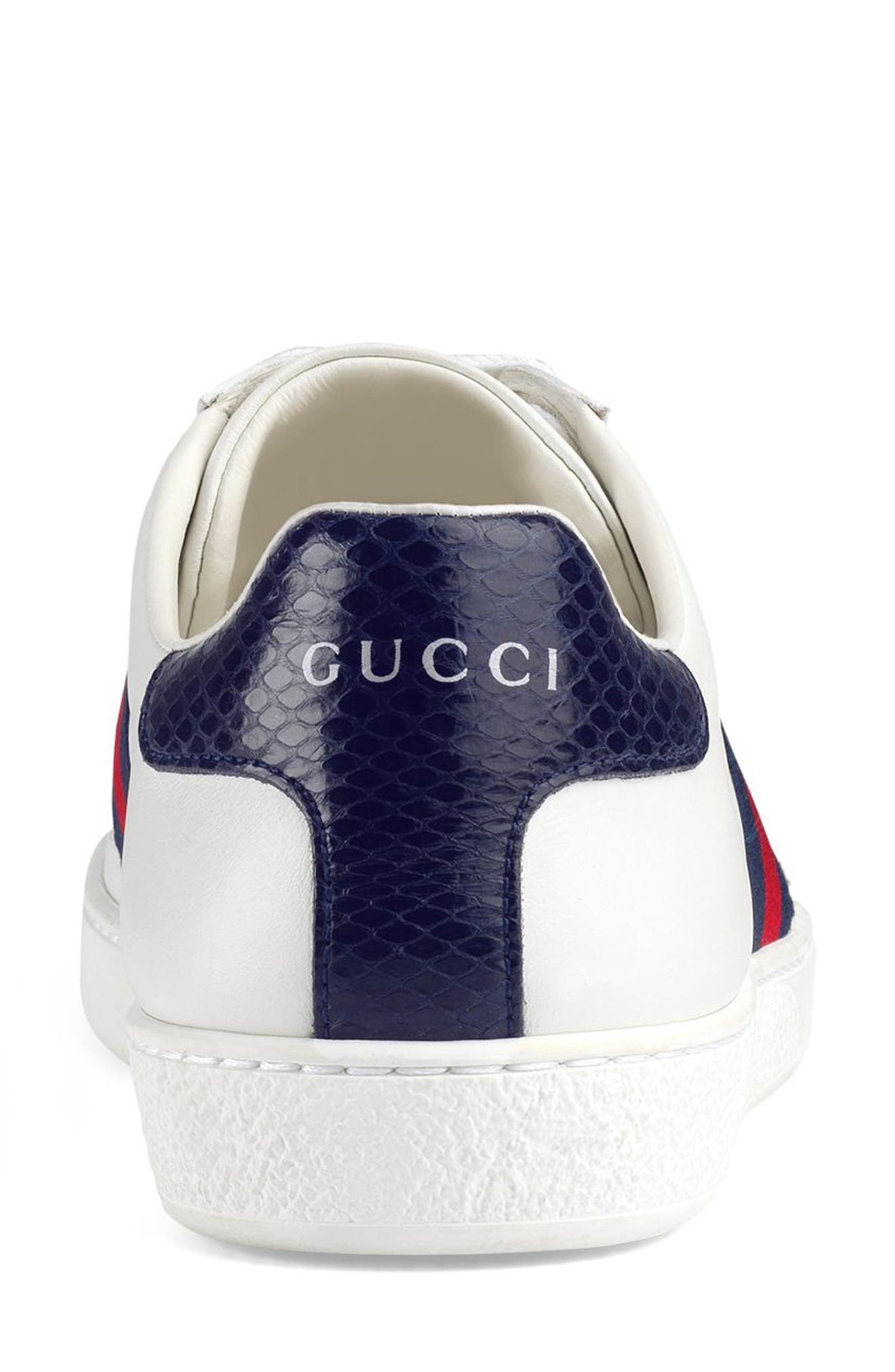 GUCCI, 'New Ace' Sneaker, Alternate thumbnail 5, color, WHITE/ BLUE