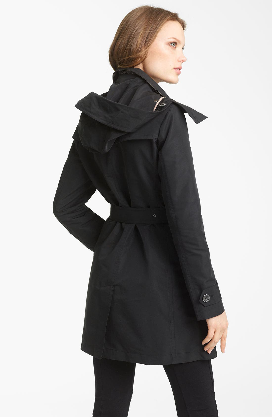 BURBERRY BRIT, Double Breasted Trench Coat, Alternate thumbnail 3, color, 001