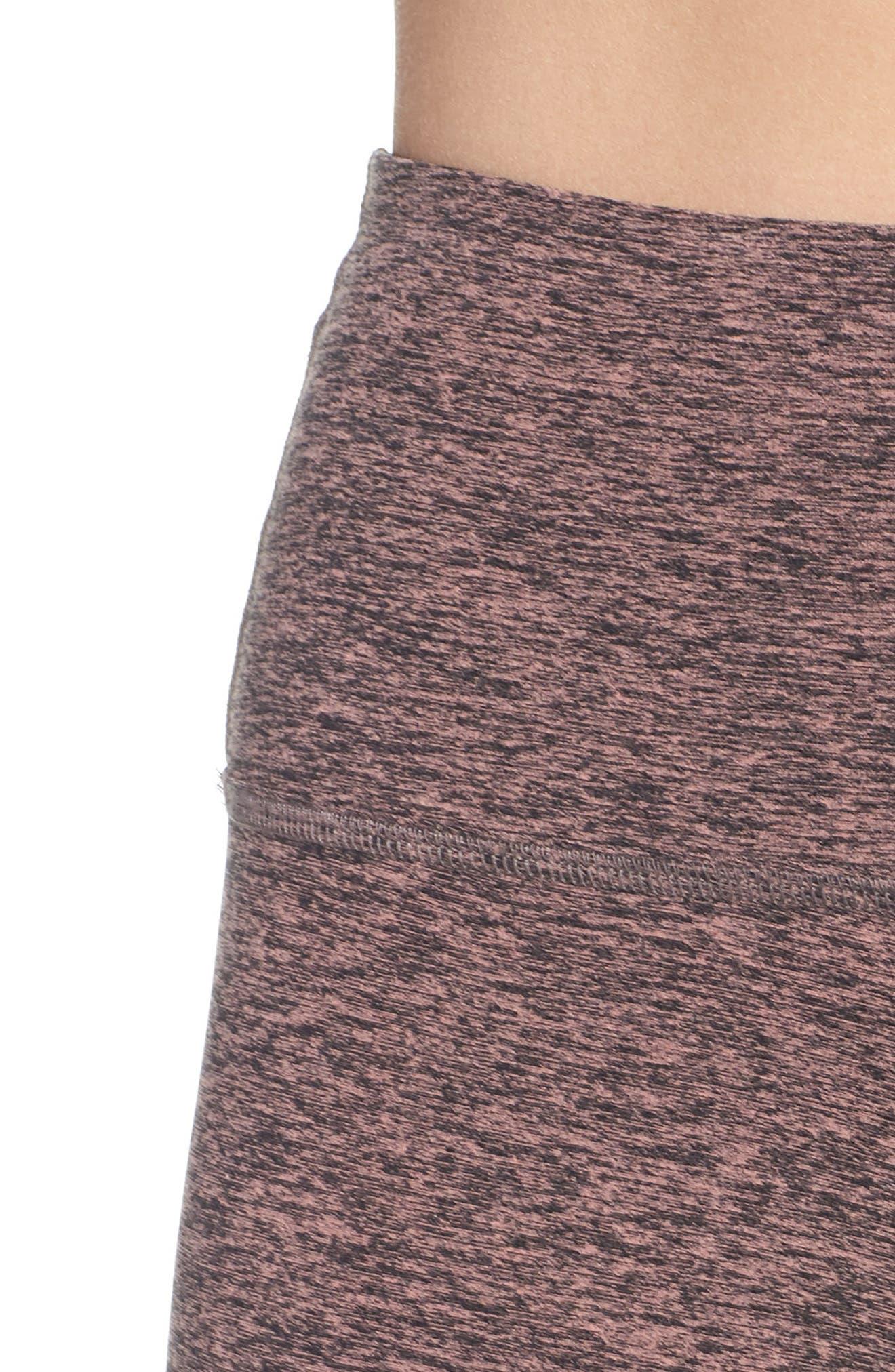 BEYOND YOGA, Midi High Waist Leggings, Alternate thumbnail 5, color, BLACK- PINK LEI