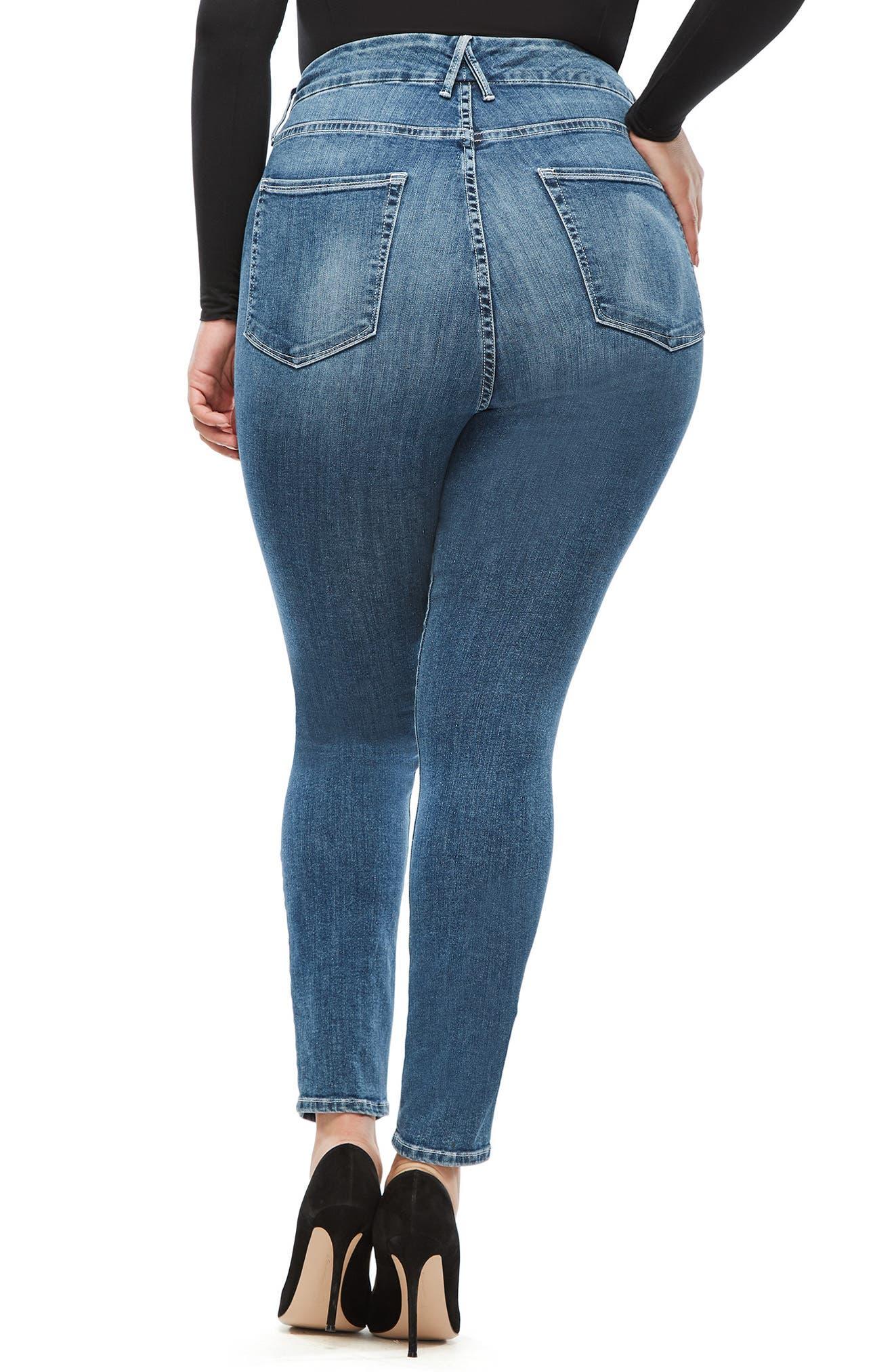 GOOD AMERICAN, Good Legs High Waist Skinny Jeans, Alternate thumbnail 7, color, BLUE186