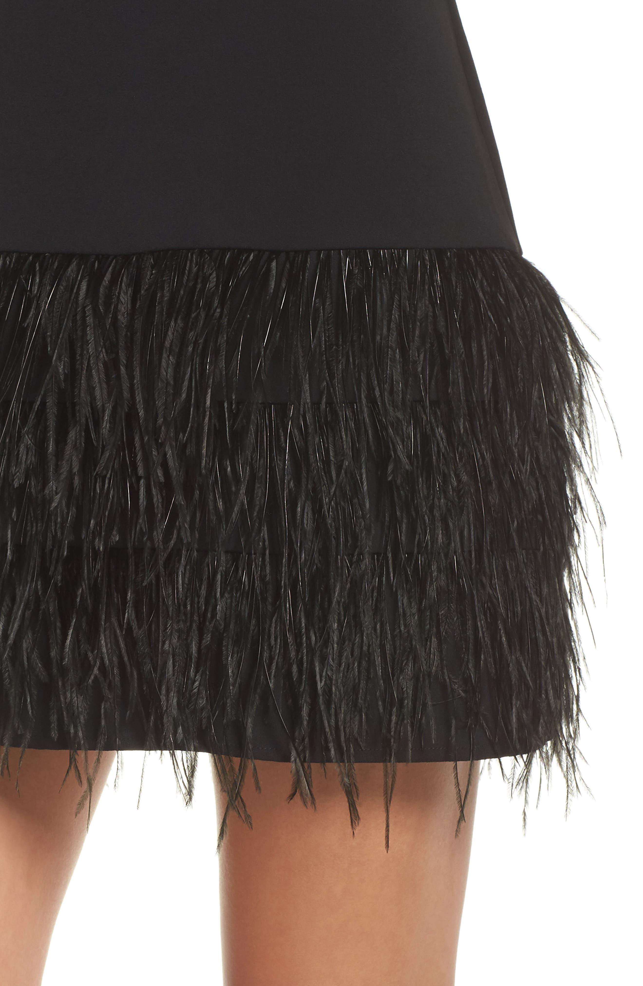 SAM EDELMAN, Feather Hem Sheath Dress, Alternate thumbnail 5, color, BLACK