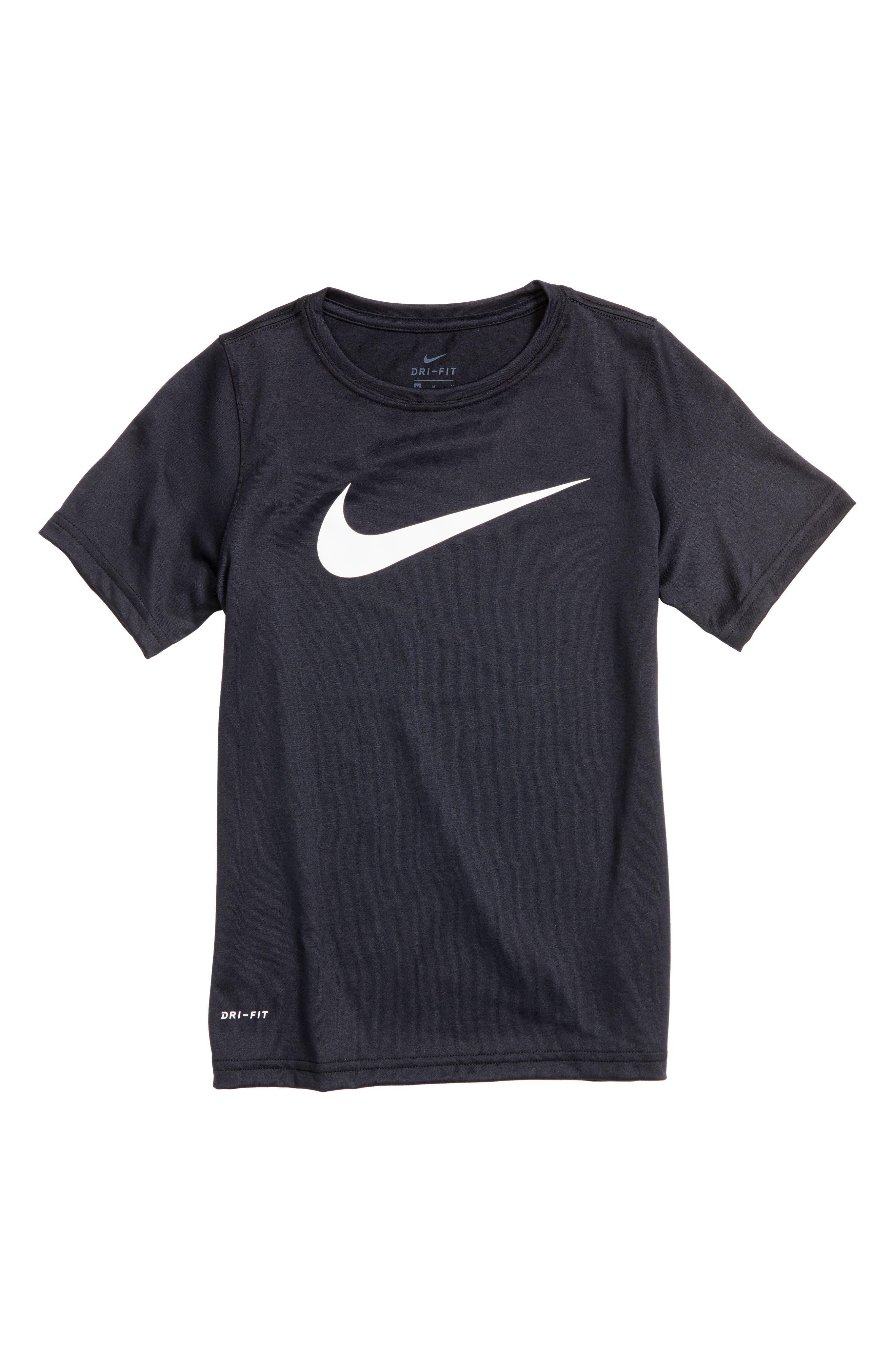 NIKE, Dry Swoosh T-Shirt, Main thumbnail 1, color, 010