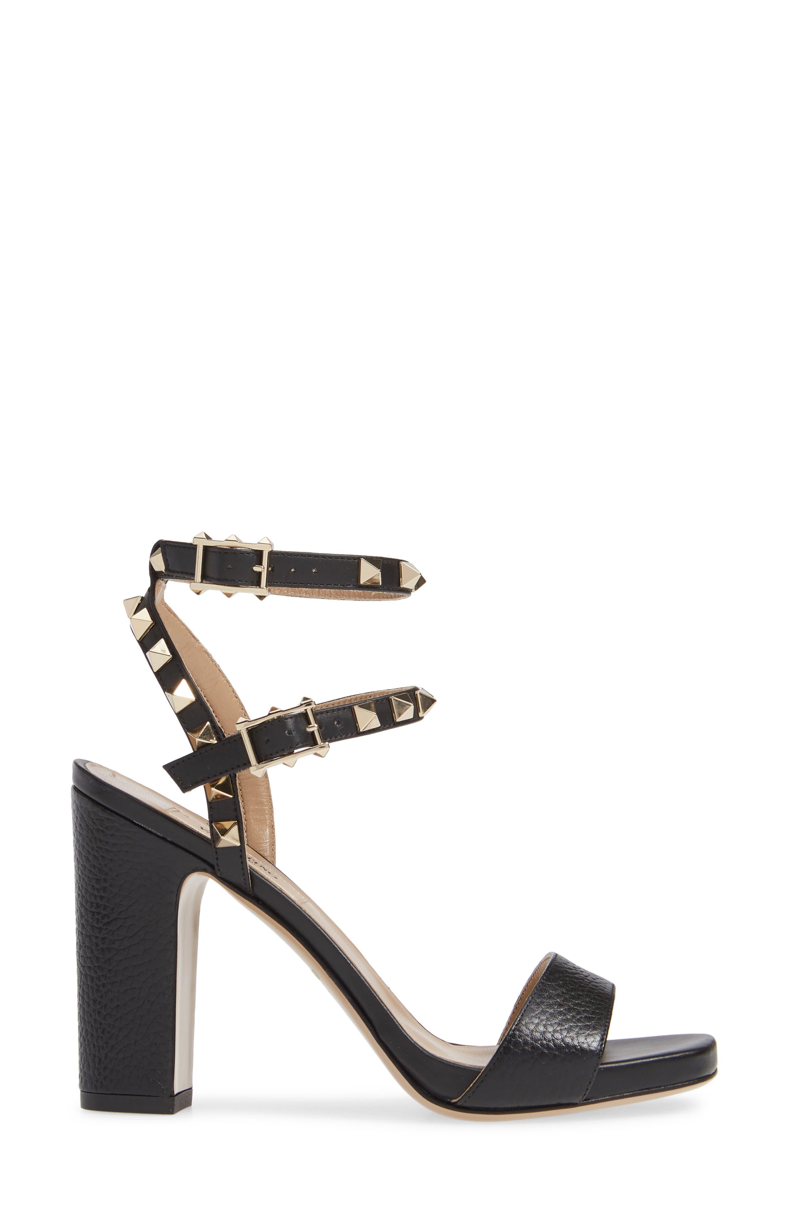 VALENTINO GARAVANI, Rockstud Ankle Strap Block Sandal, Alternate thumbnail 3, color, BLACK/ BLACK