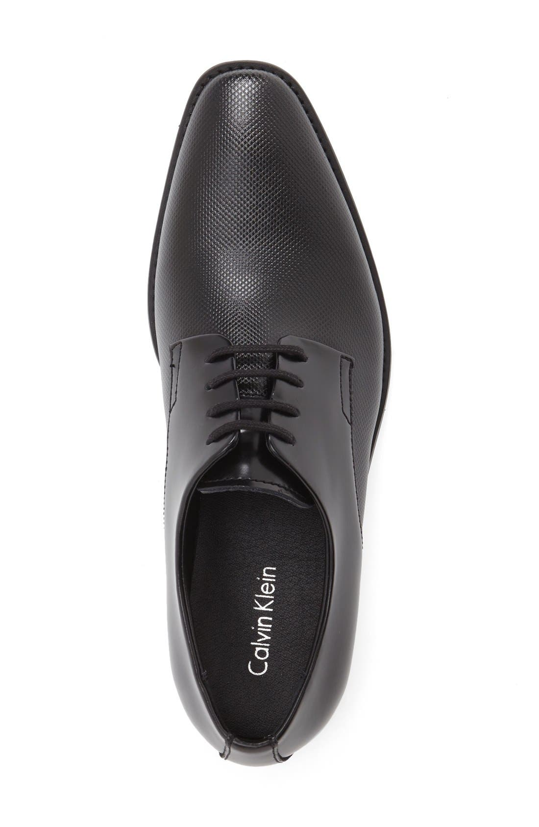 CALVIN KLEIN, 'Ramses' Plain Toe Derby, Alternate thumbnail 3, color, BLACK LEATHER