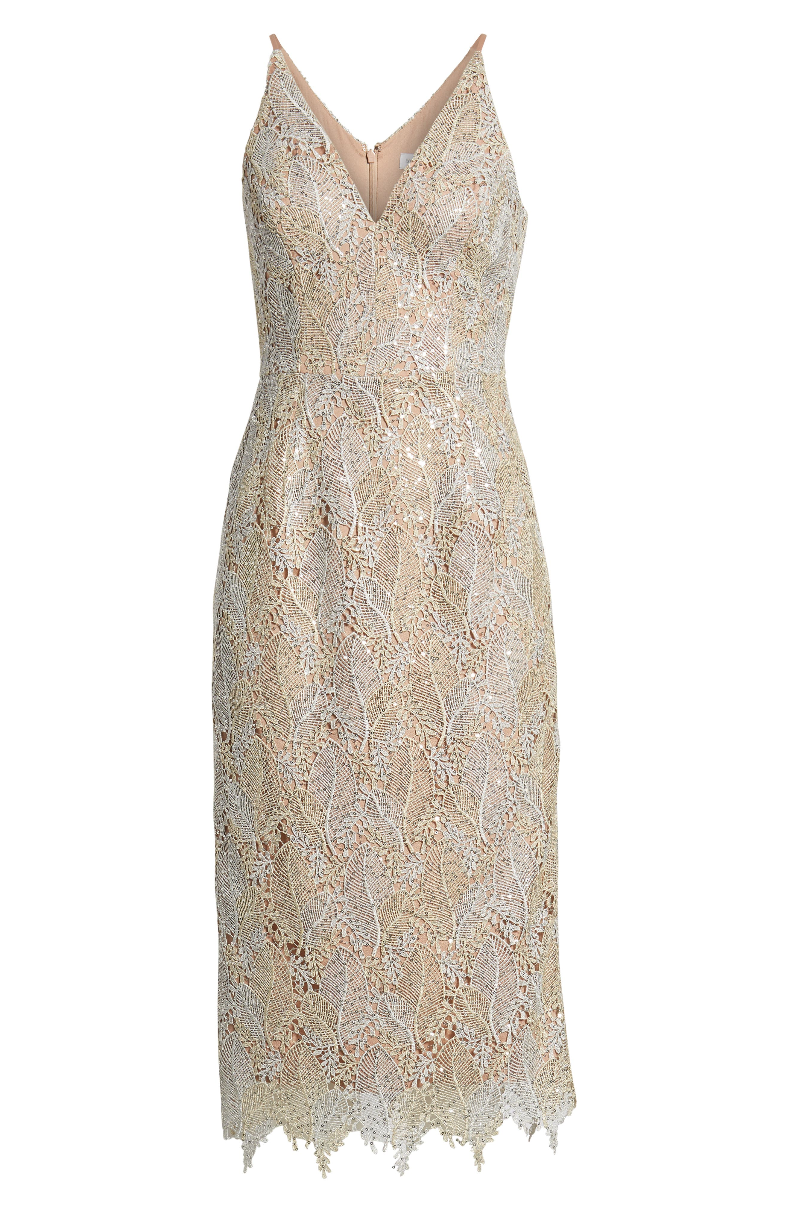 DRESS THE POPULATION, Aurora Lace Sheath Dress, Alternate thumbnail 6, color, PLATINUM/ GOLD