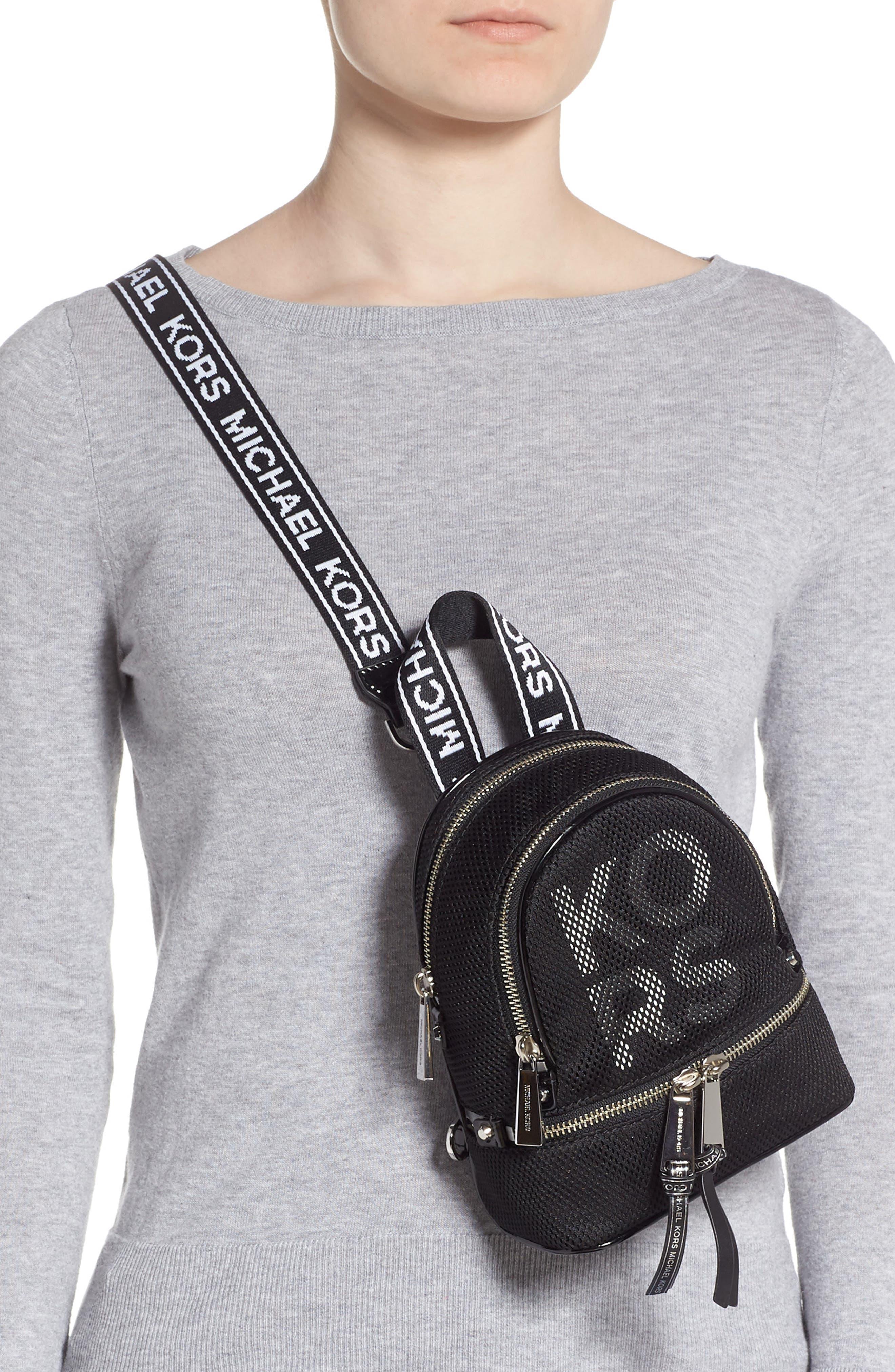MICHAEL MICHAEL KORS, Extra Small Rhea Mesh Backpack, Alternate thumbnail 4, color, BLACK/ OPTIC WHITE