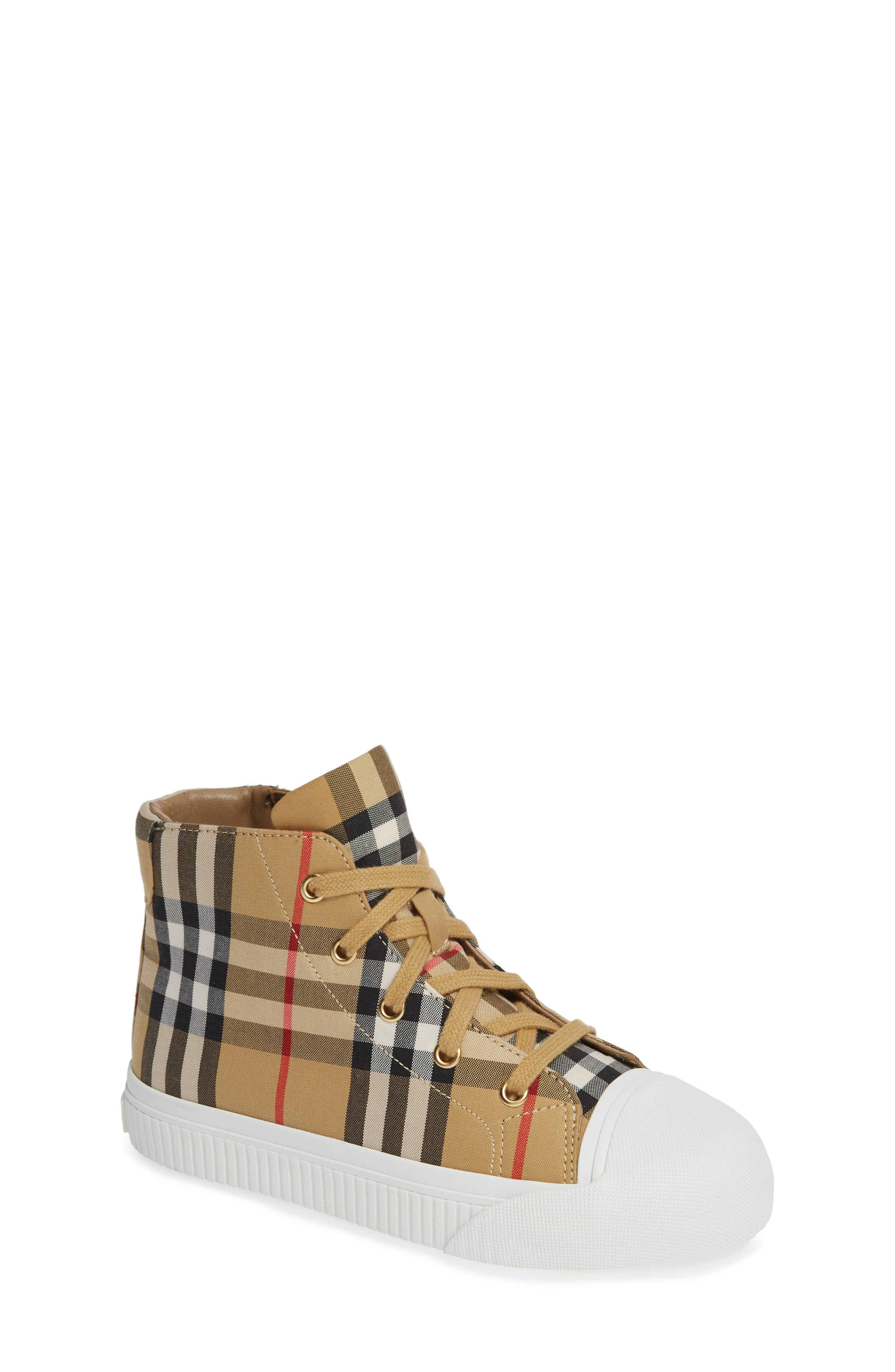 BURBERRY, Belford High-Top Sneaker, Main thumbnail 1, color, ANTIQUE YELLOW/ OPTIC WHITE