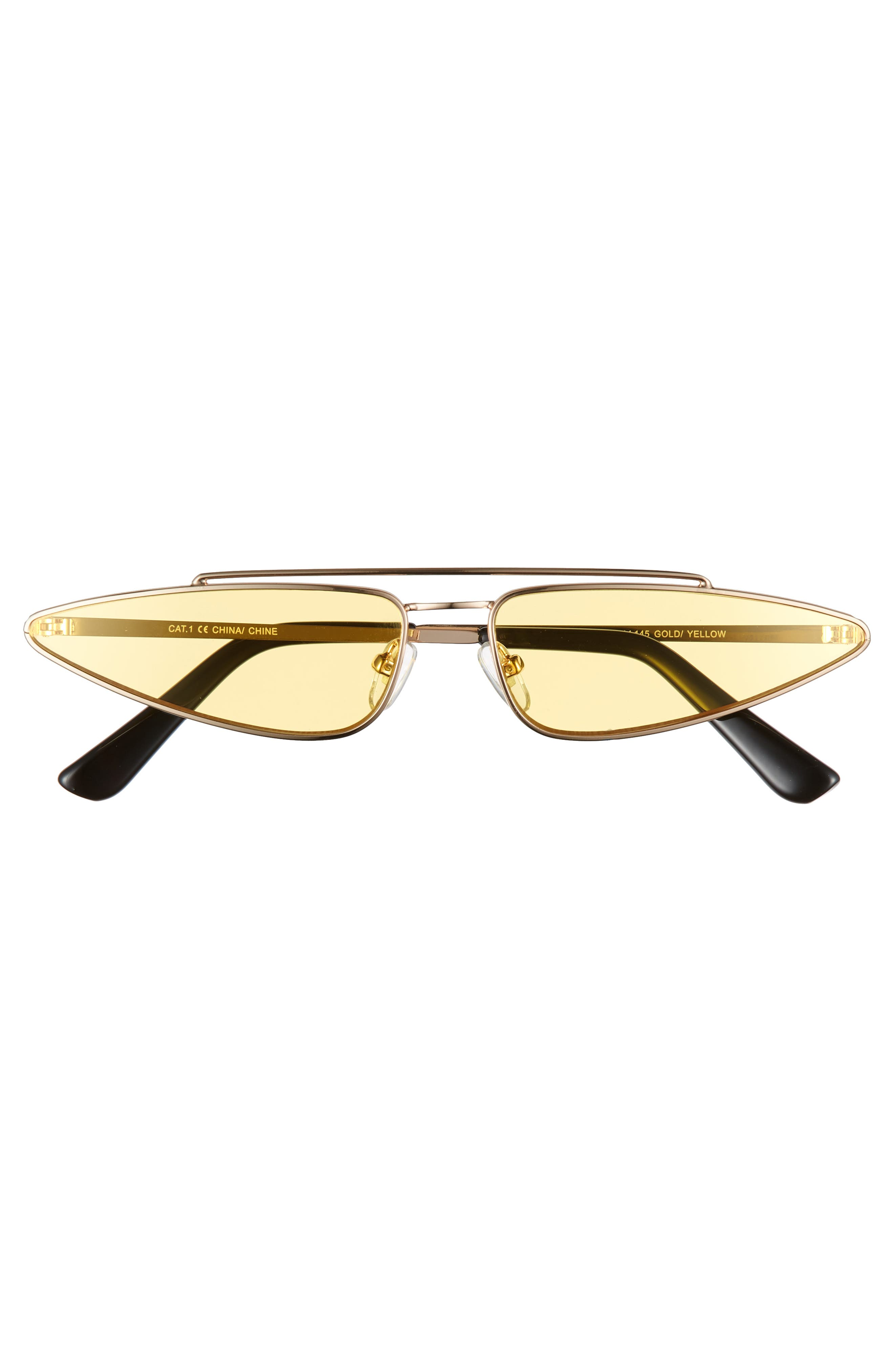 THE RAIL, Zane 45mm Sunglasses, Alternate thumbnail 2, color, GOLD/ YELLOW