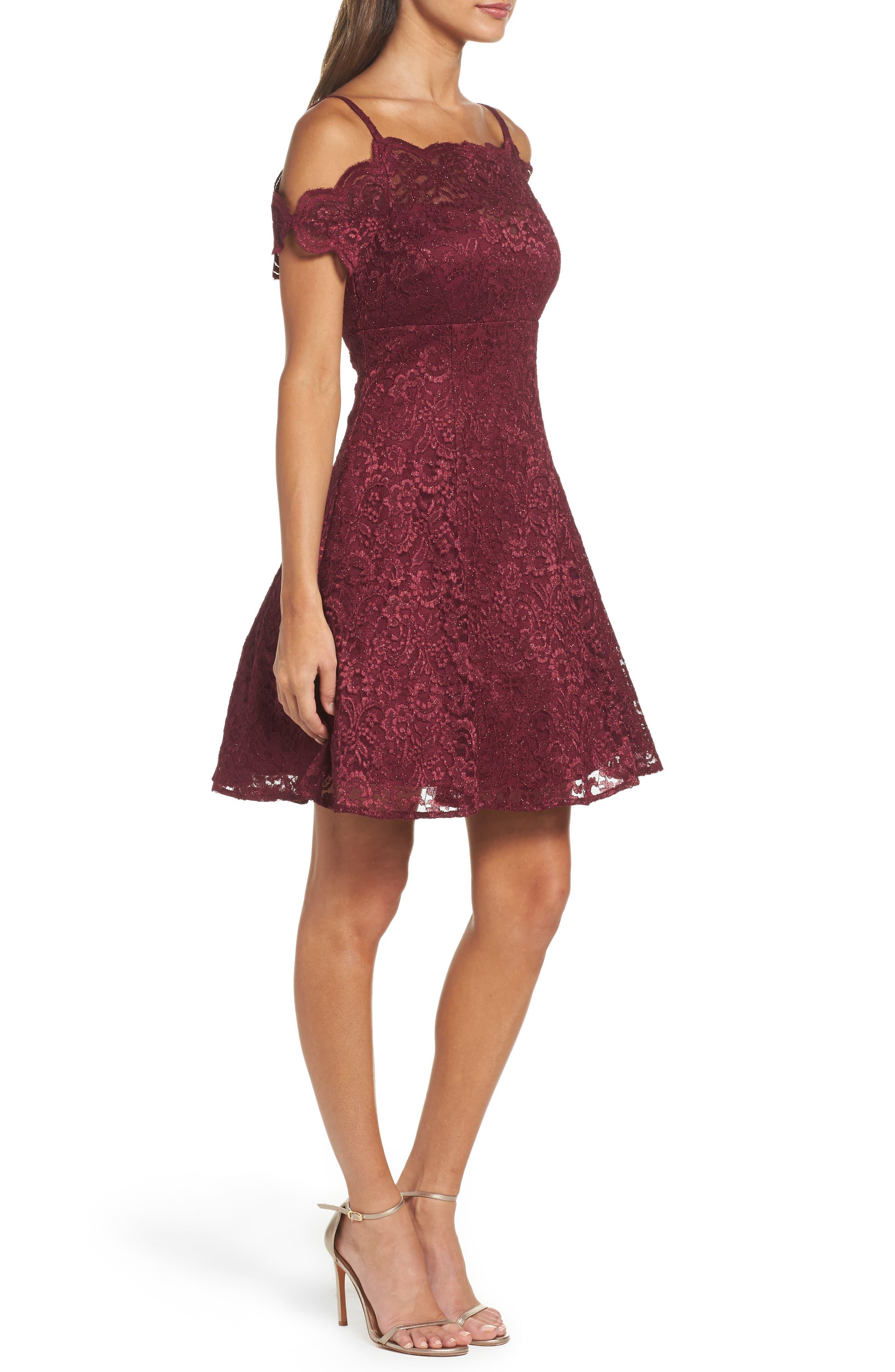 MORGAN & CO., Cold Shoulder Glitter Lace Fit & Flare Dress, Alternate thumbnail 4, color, MERLOT