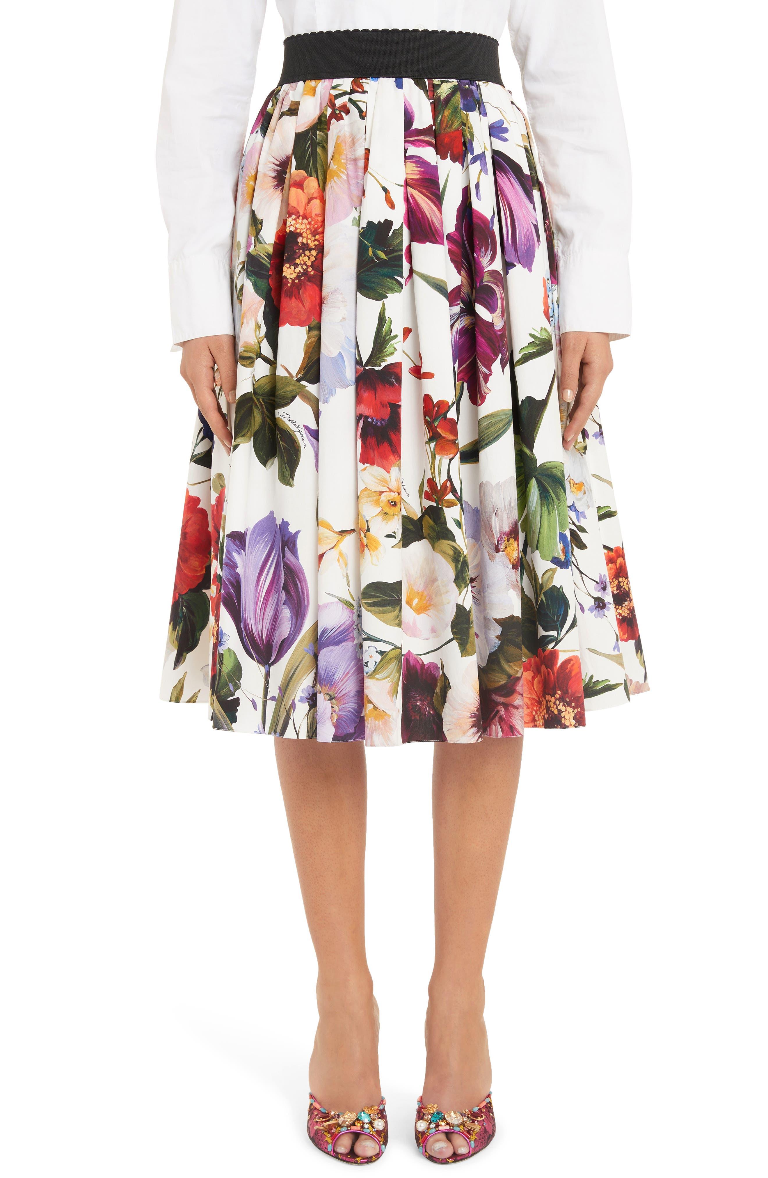 DOLCE&GABBANA, Floral Print A-Line Poplin Midi Skirt, Main thumbnail 1, color, PRINT