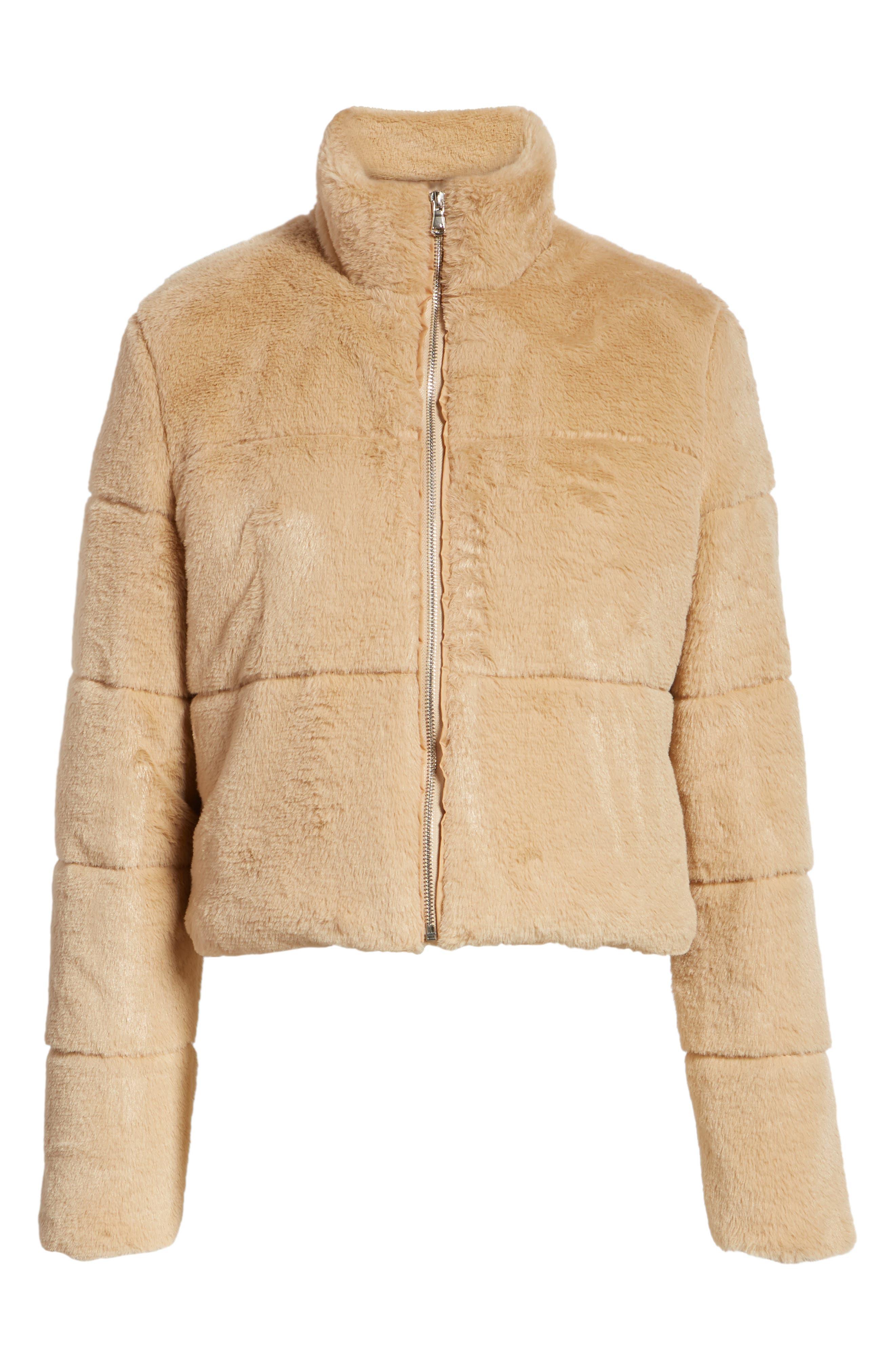 TIGER MIST, Bridget Faux Fur Puffer Jacket, Alternate thumbnail 6, color, 250