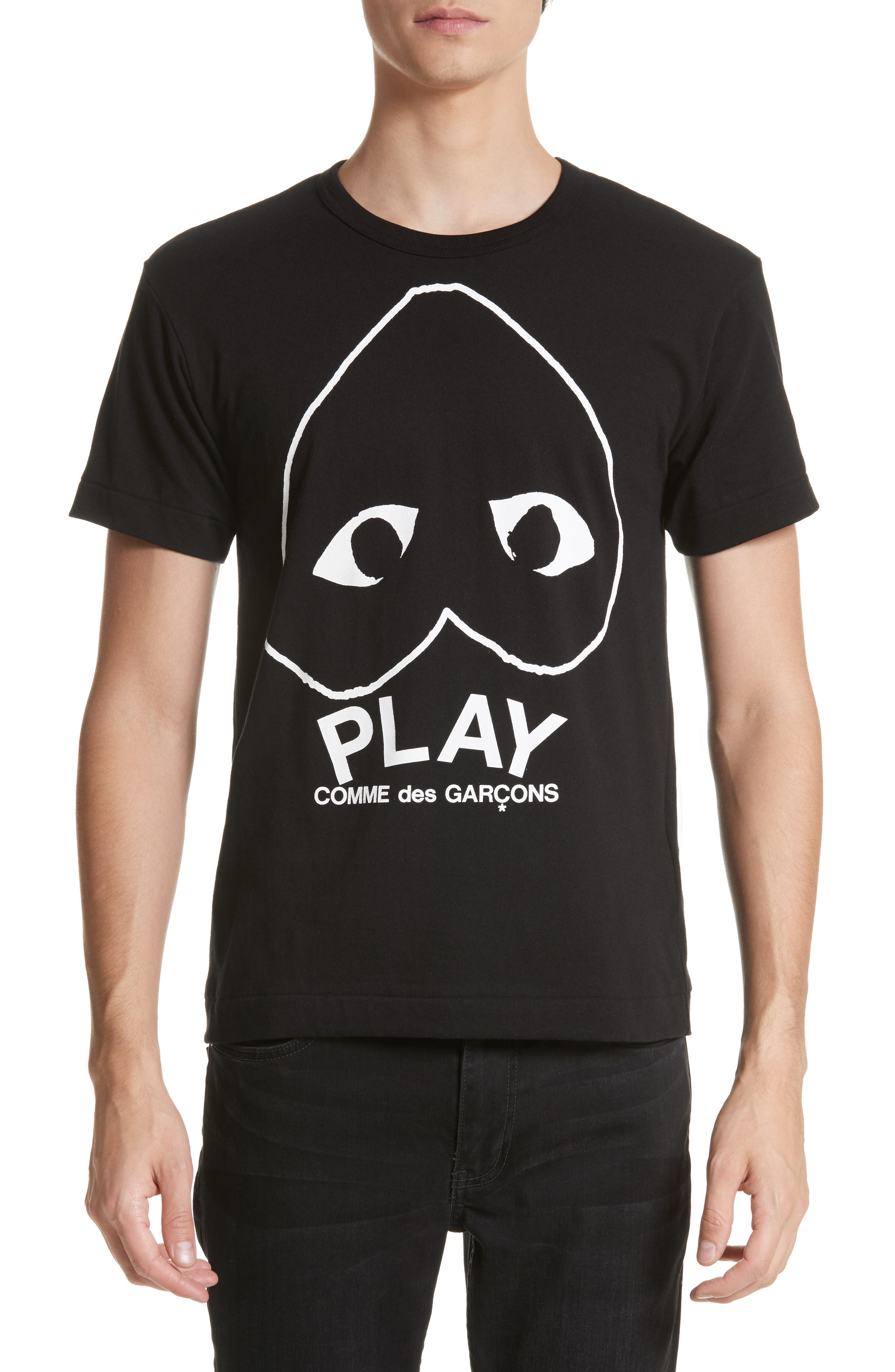 COMME DES GARÇONS PLAY, Inverted Heart Logo T-Shirt, Main thumbnail 1, color, BLACK