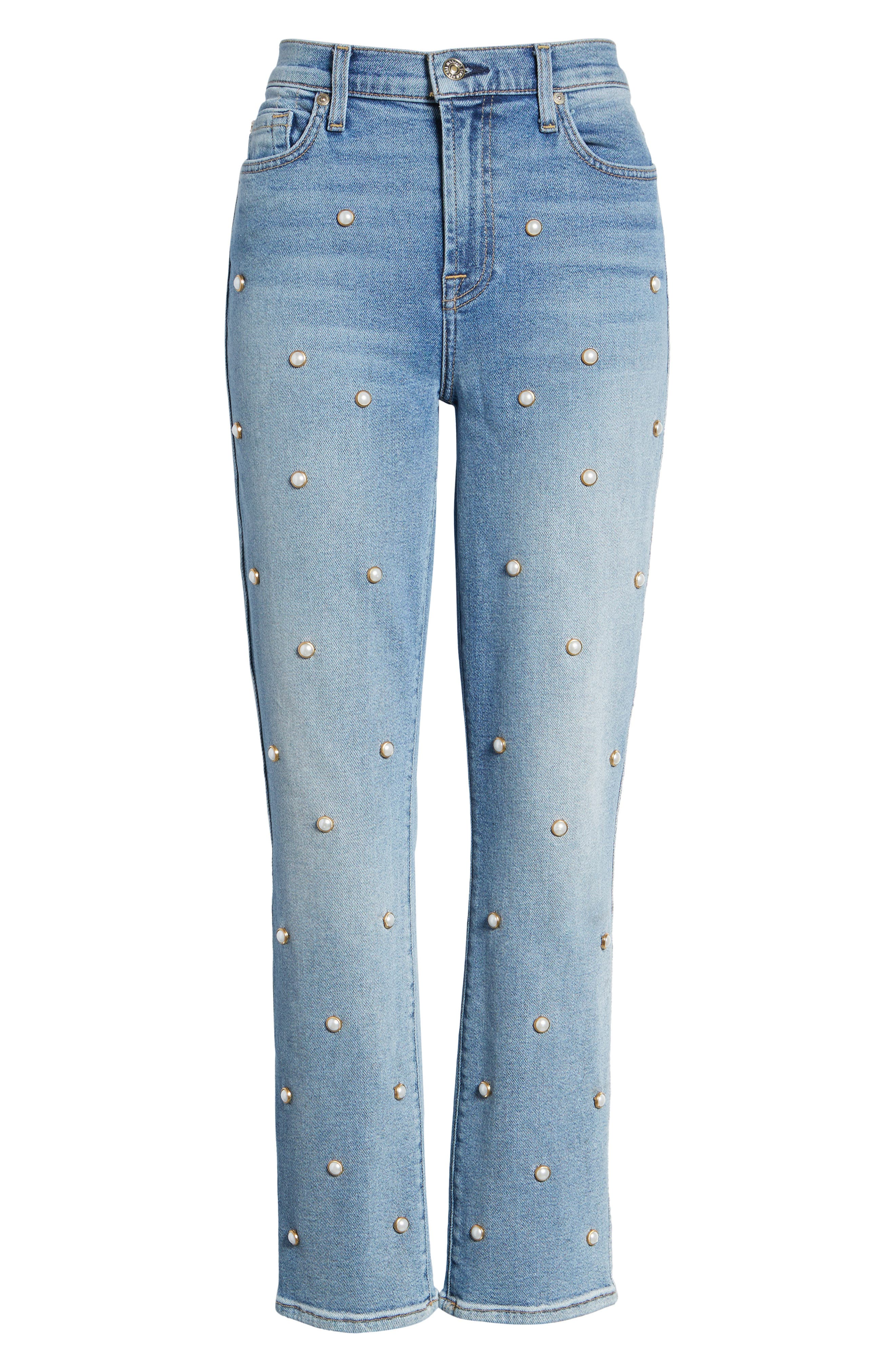7 FOR ALL MANKIND<SUP>®</SUP>, Edie Faux Pearl Detail Ankle Jeans, Alternate thumbnail 7, color, LUXE VINTAGE FLORA