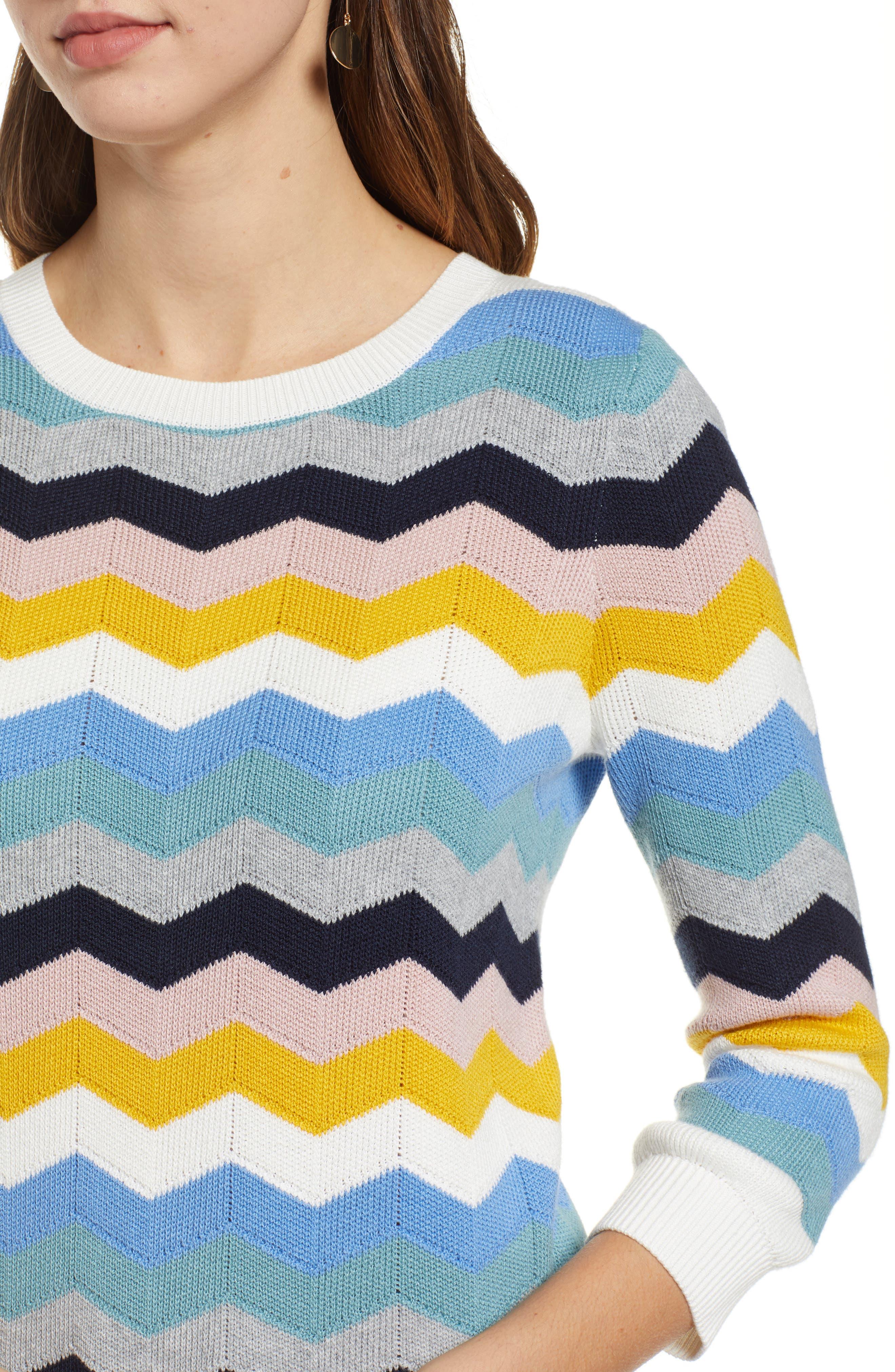 1901, Chevron Jacquard Sweater, Alternate thumbnail 4, color, BLUE MULTI CHEVRON PATTERN